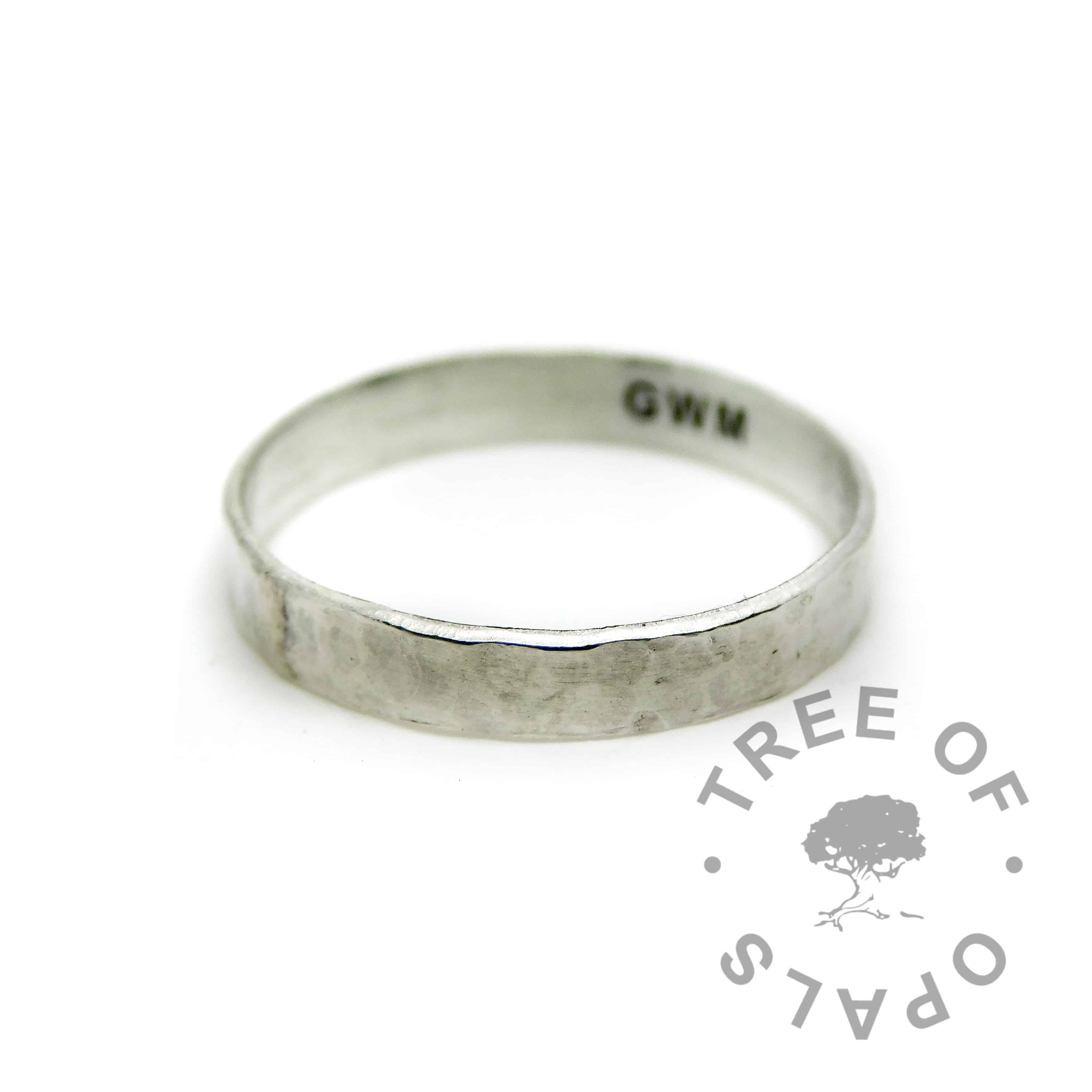 engraved textured memorial ring in solid sterling eco silver
