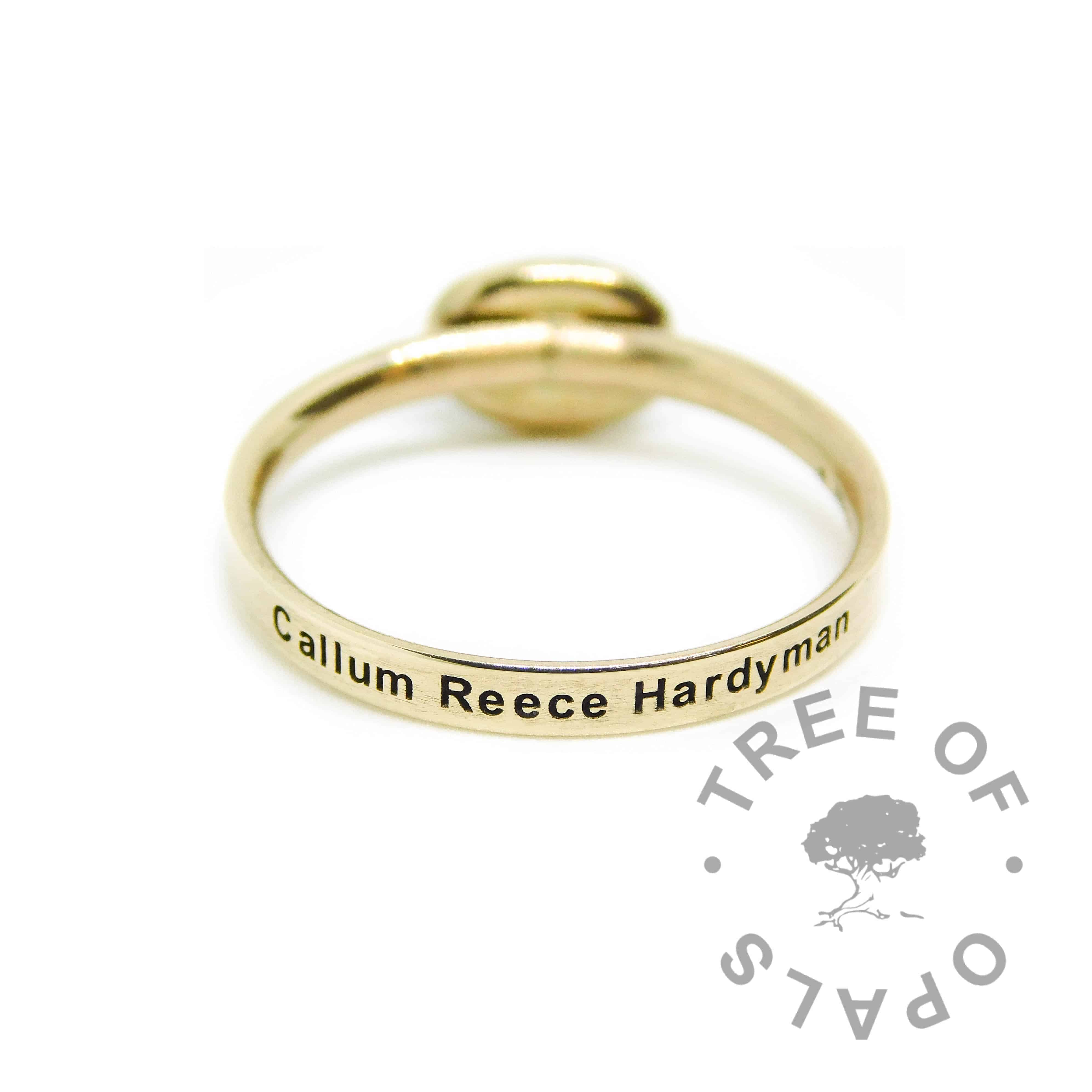 gold engraved ring 14ct with name. Minimum ring width 2mm, hallmarked solid gold band