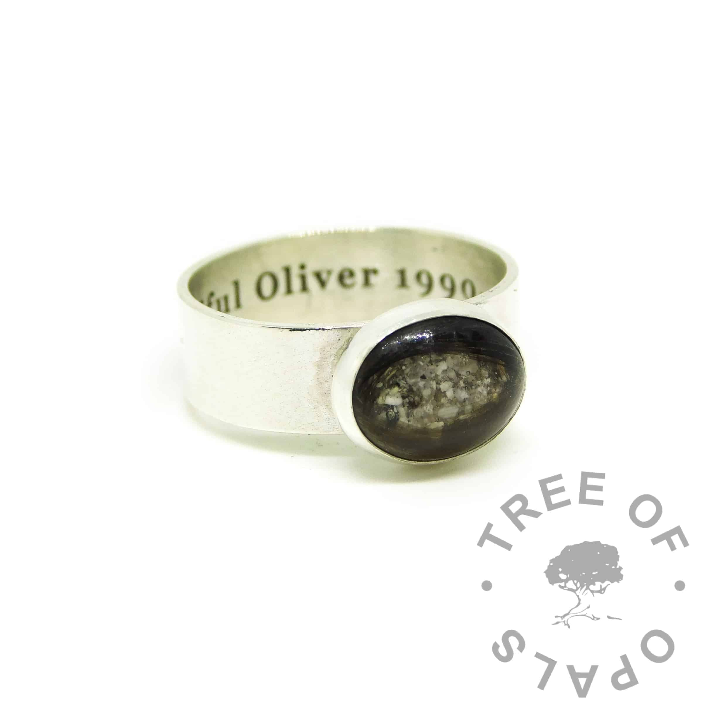 lock of hair ashes ring with 6mm shiny band, engraved inside in Georgia font. Hair and ashes in resin
