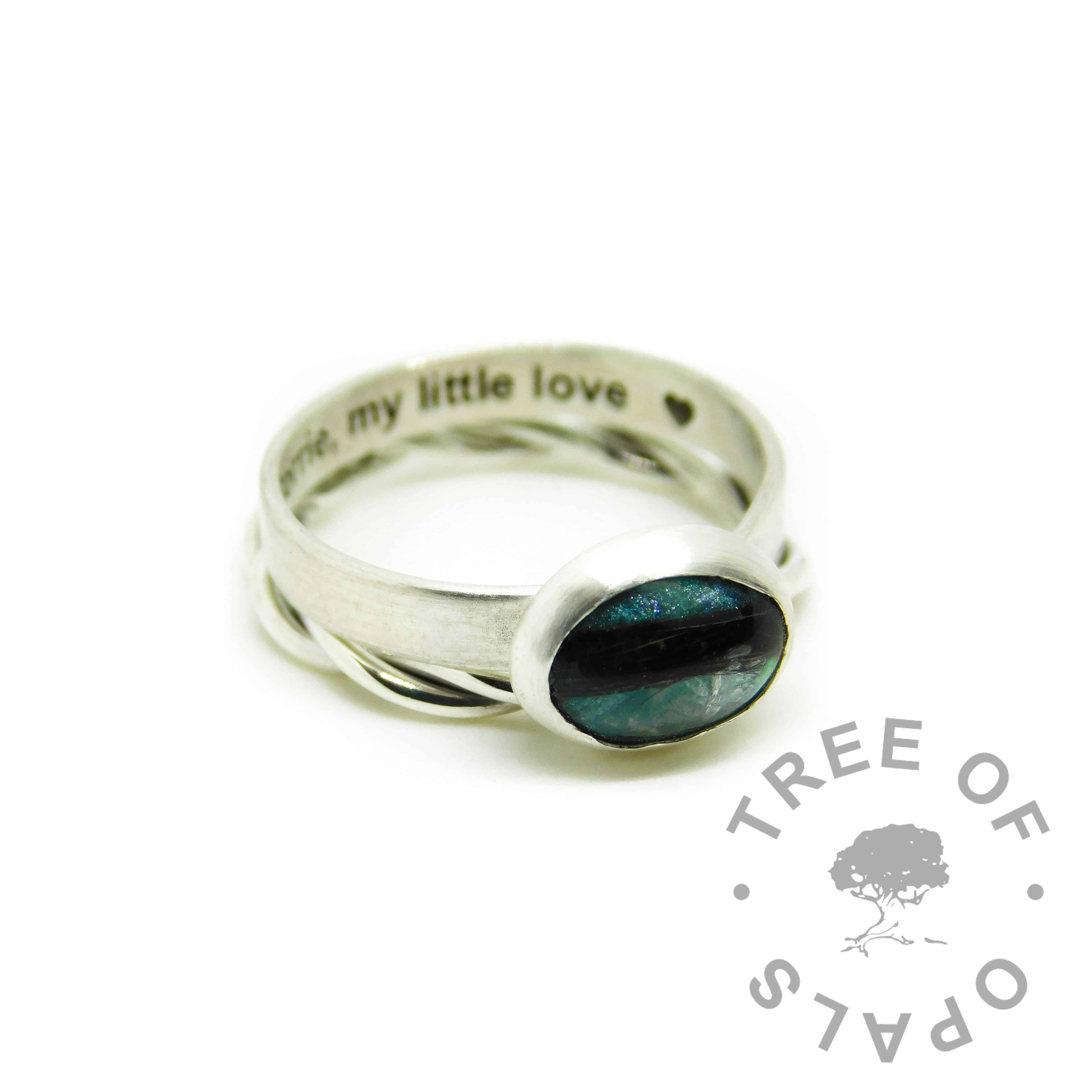 mermaid teal resin sparkle mix and hair ring, brushed band engraved inside with arial font, shown with a twisted wire stacking band
