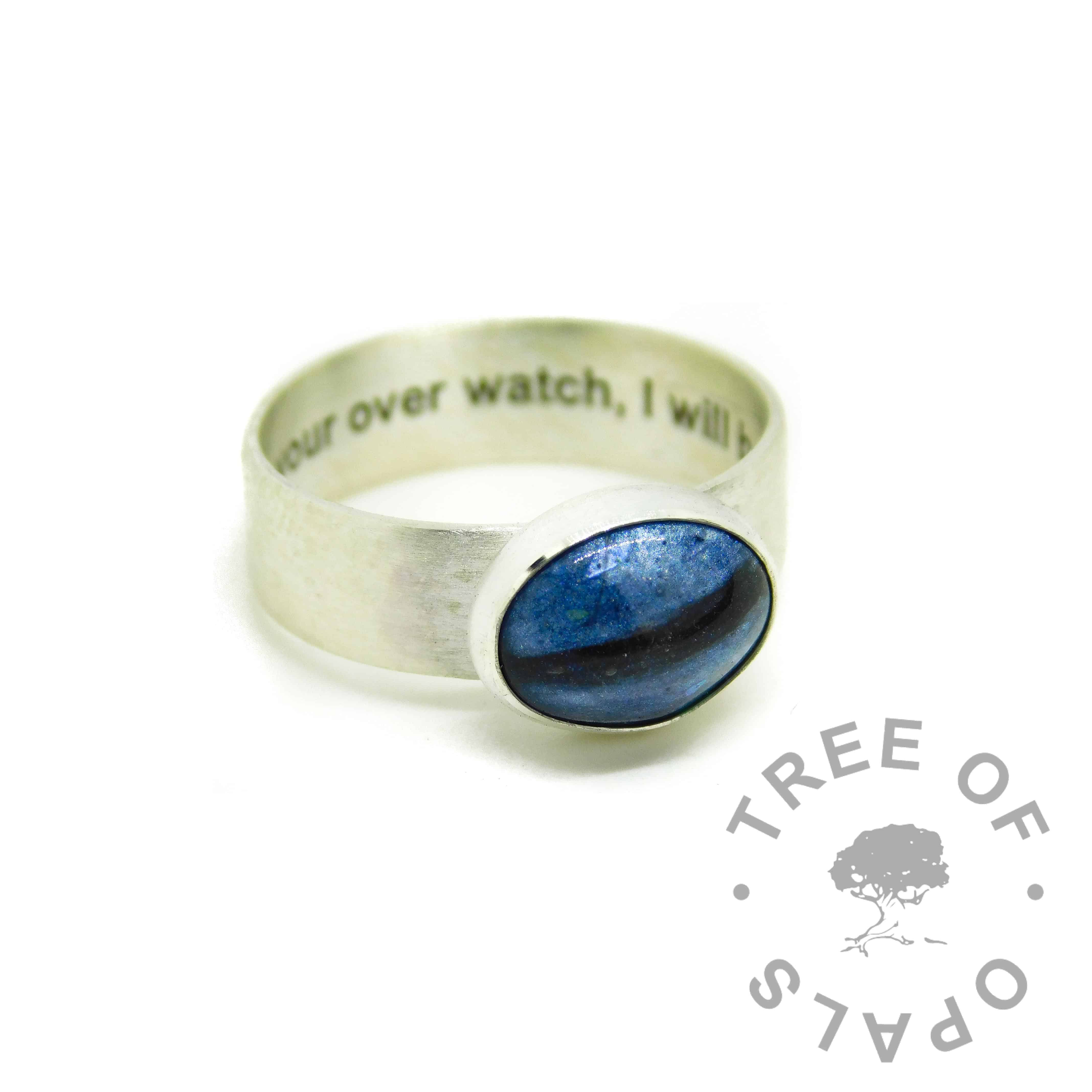 aegean blue resin sparkle mix and hair stacking ring, 6mm shiny band engraved inside with arial font