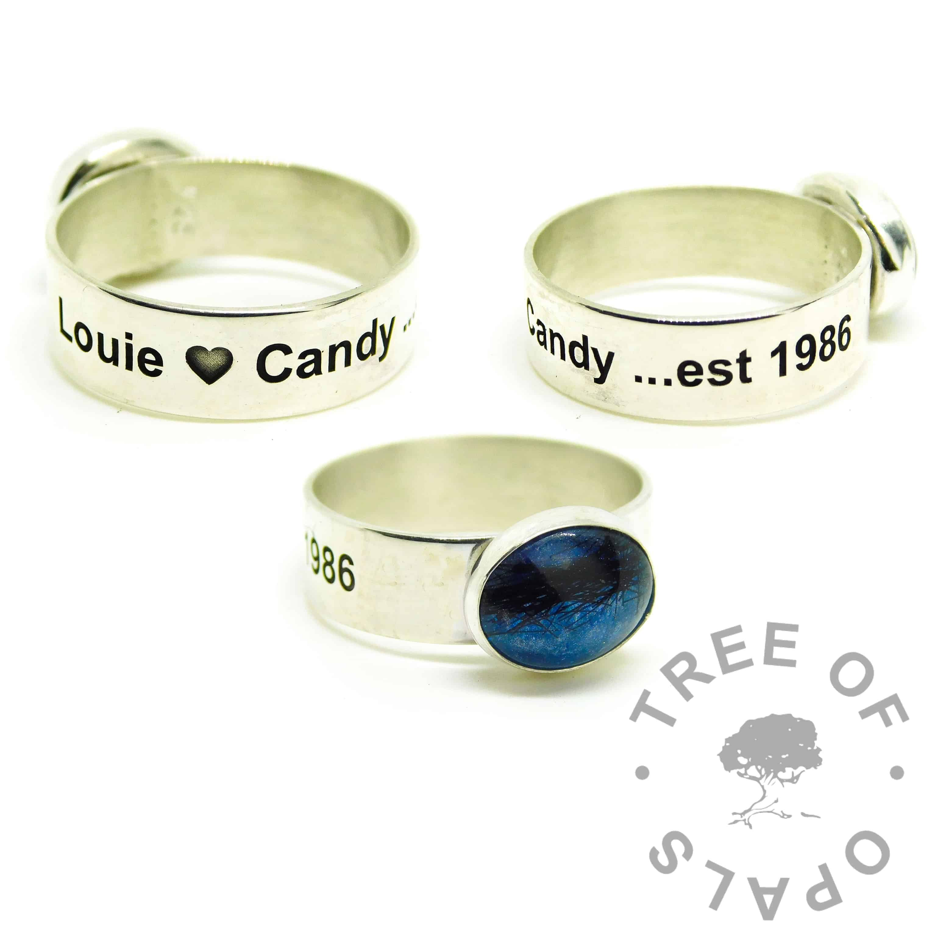 ashes jewellery engraved ring, 6mm shiny band engraved outside with Arial font and heart emoji. Aegean blue resin sparkle mix with short dark hair