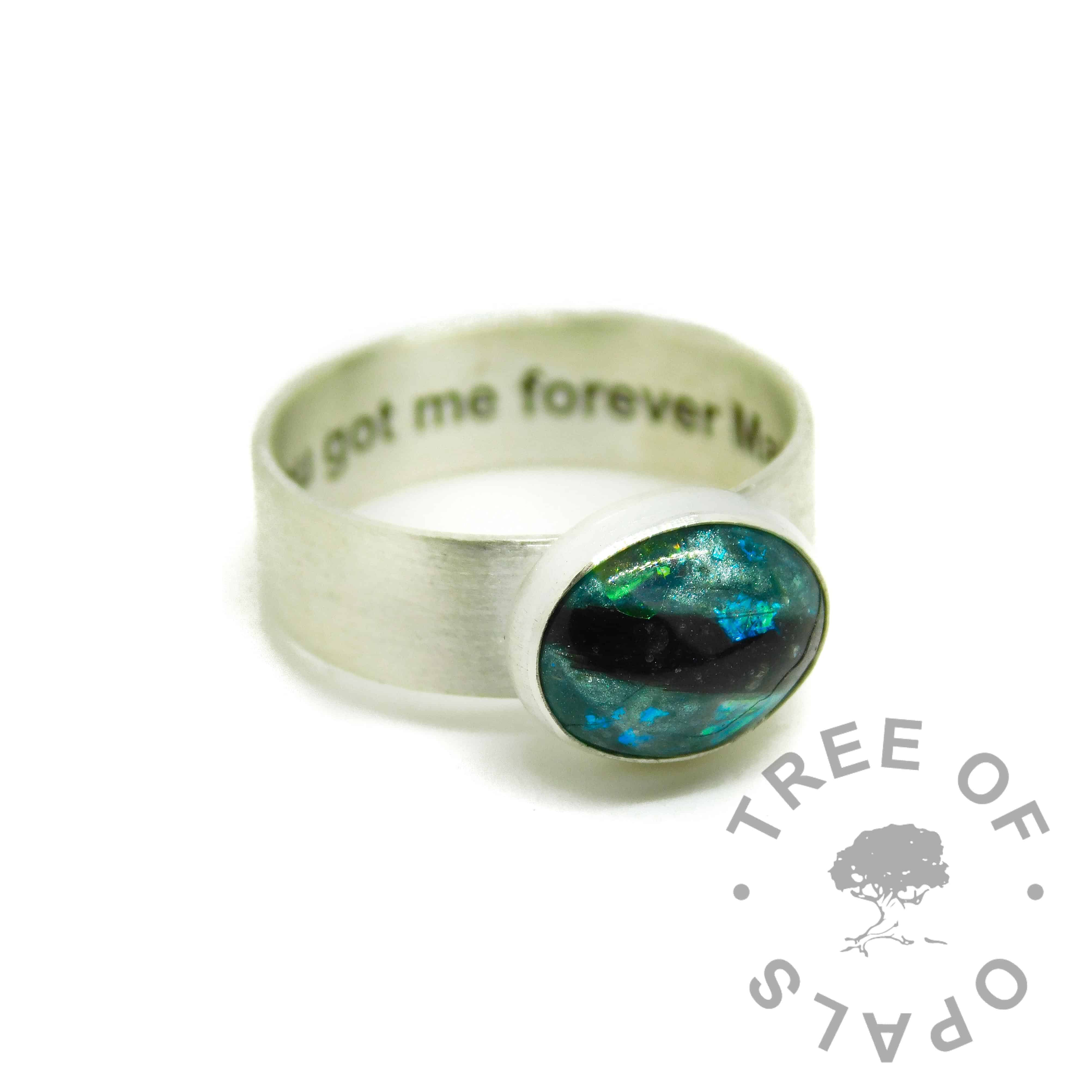 mermaid teal resin sparkle mix and hair ring, 6mm wide shiny band engraved inside with arial font