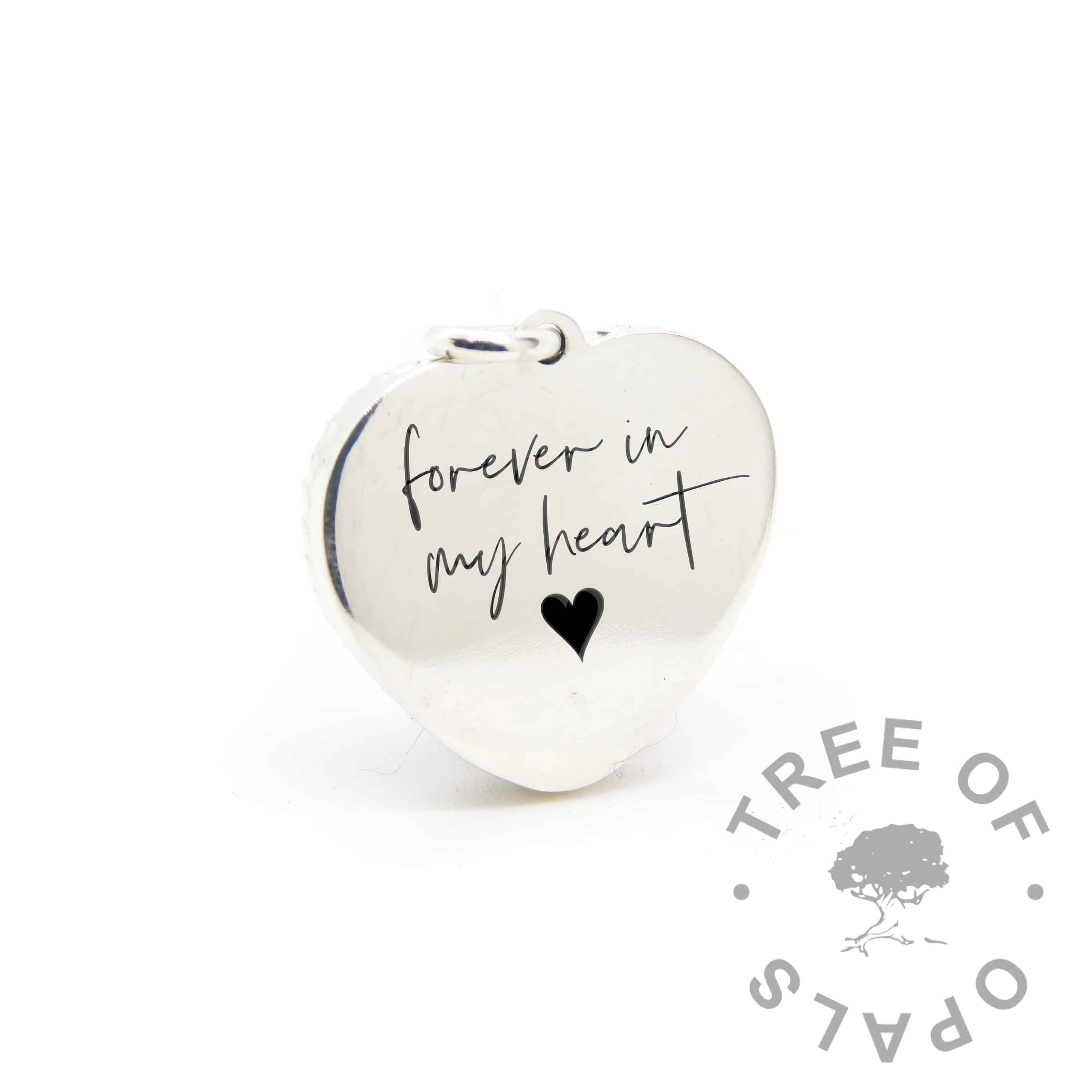 New style heart necklace setting back, with Silver South Script engraving mockup (shown without necklace chain)