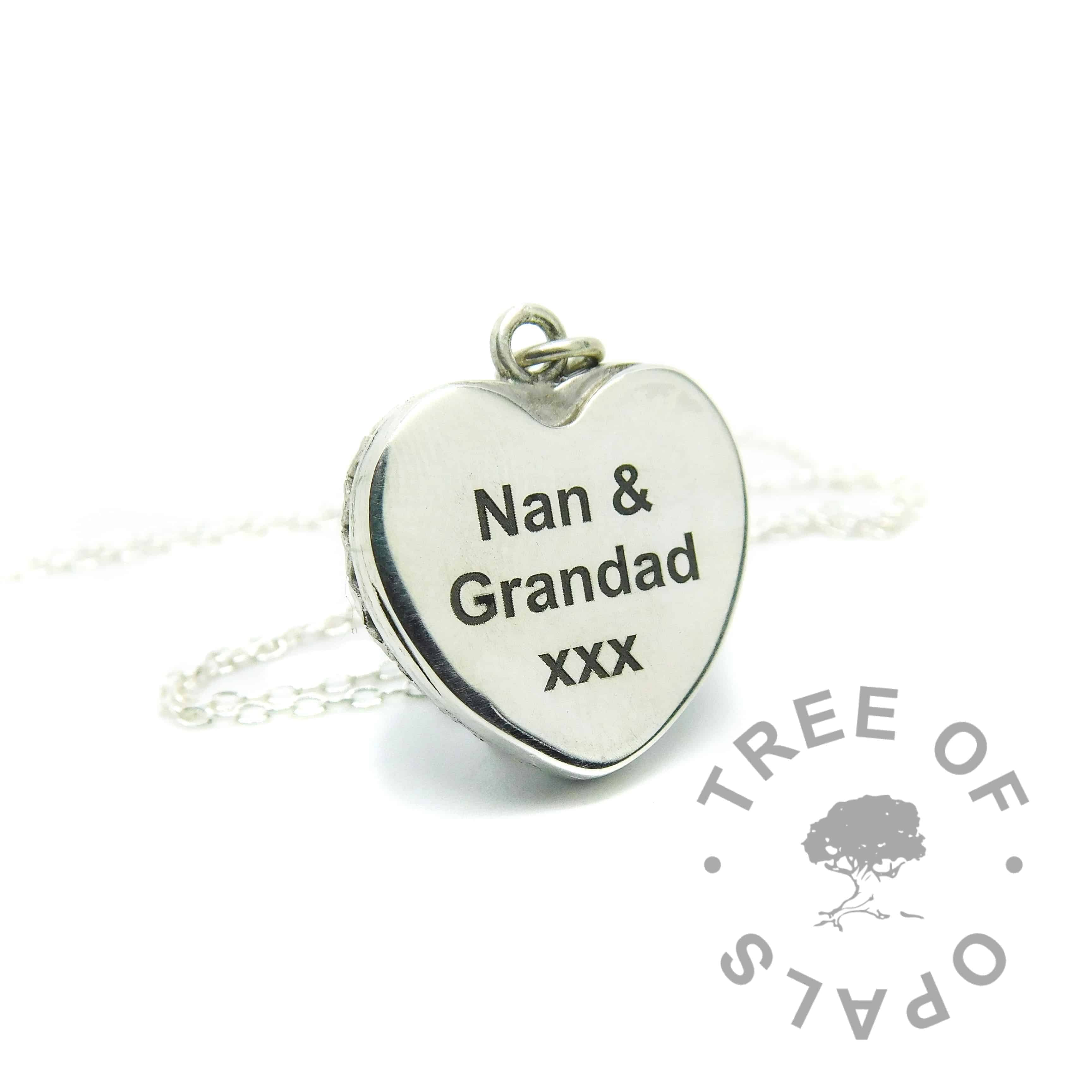 Arial font engraved heart necklace, 20mm sterling silver crown point heart necklace setting. Watermarked copyright Tree of Opals memorial jewellery image