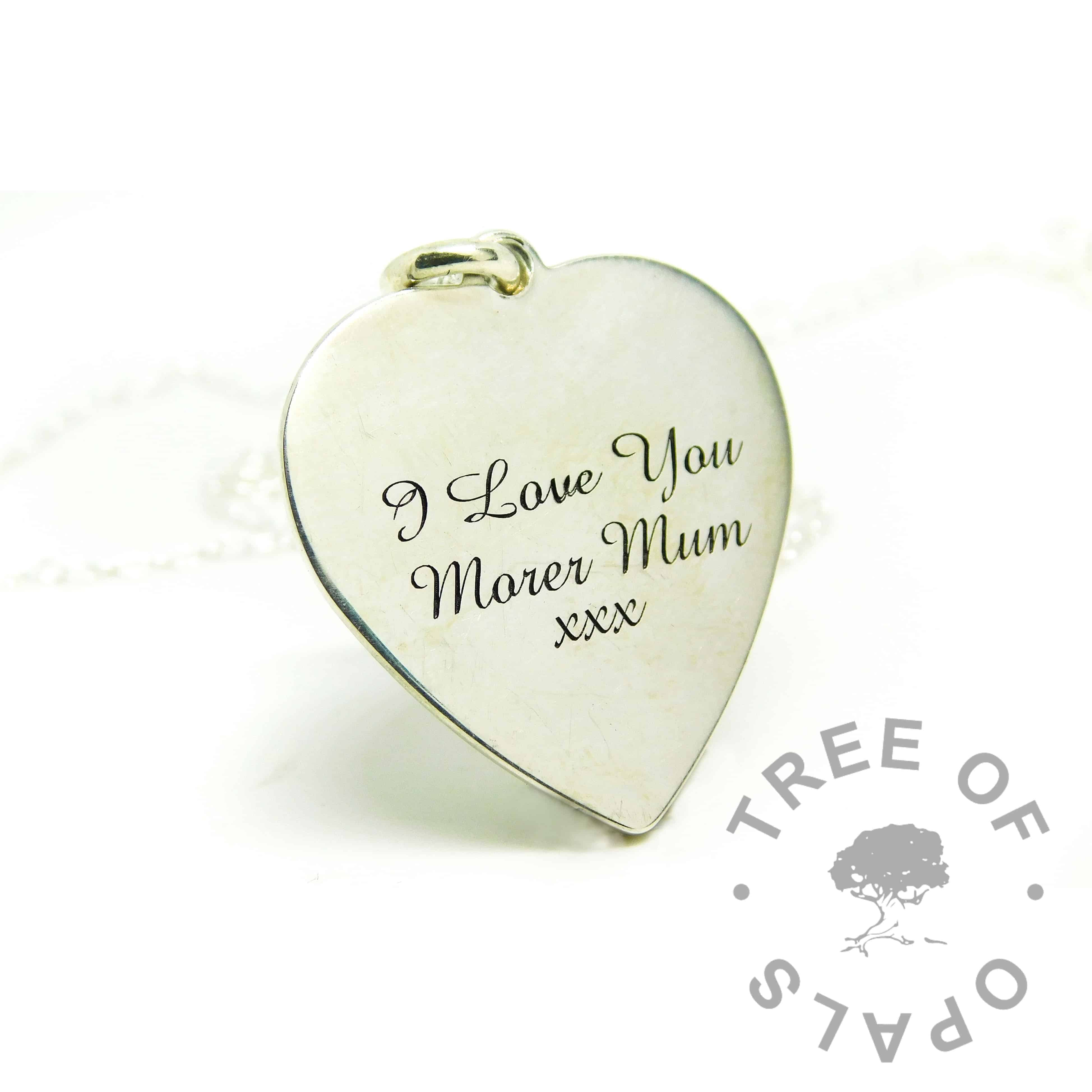 large heart pendant with engraving in Amazone BT font