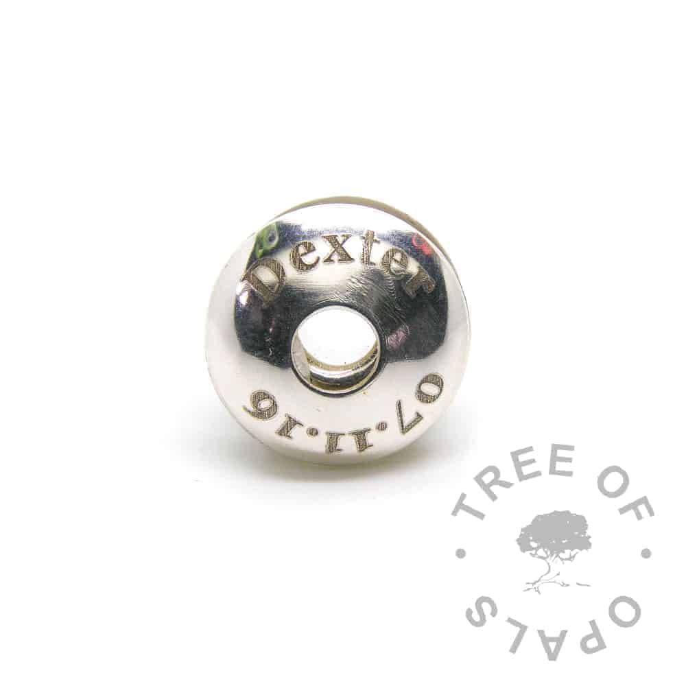 laser engraved charm washer baby date of birth charm