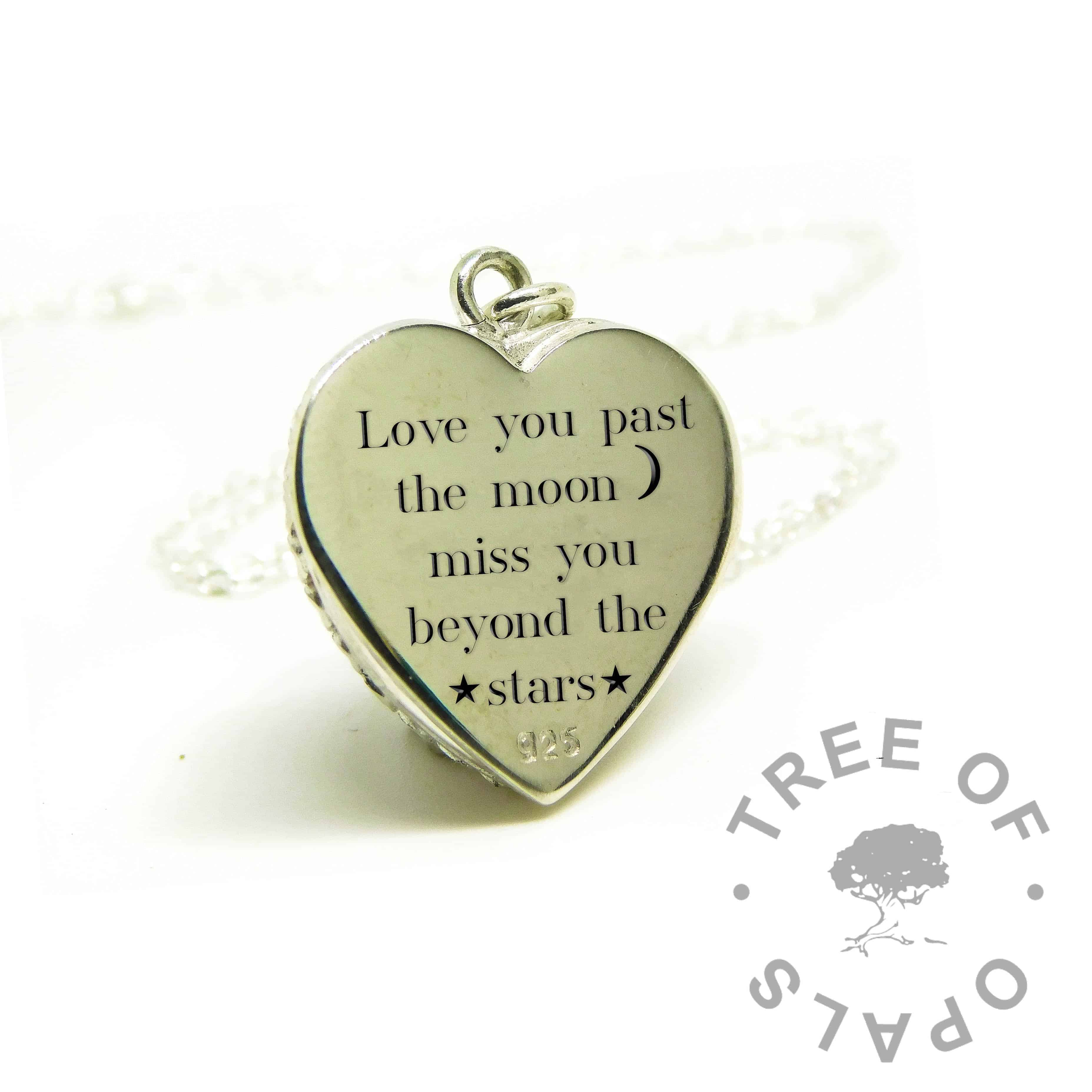 love you past the moon engraved heart necklace, Silver South Serif font