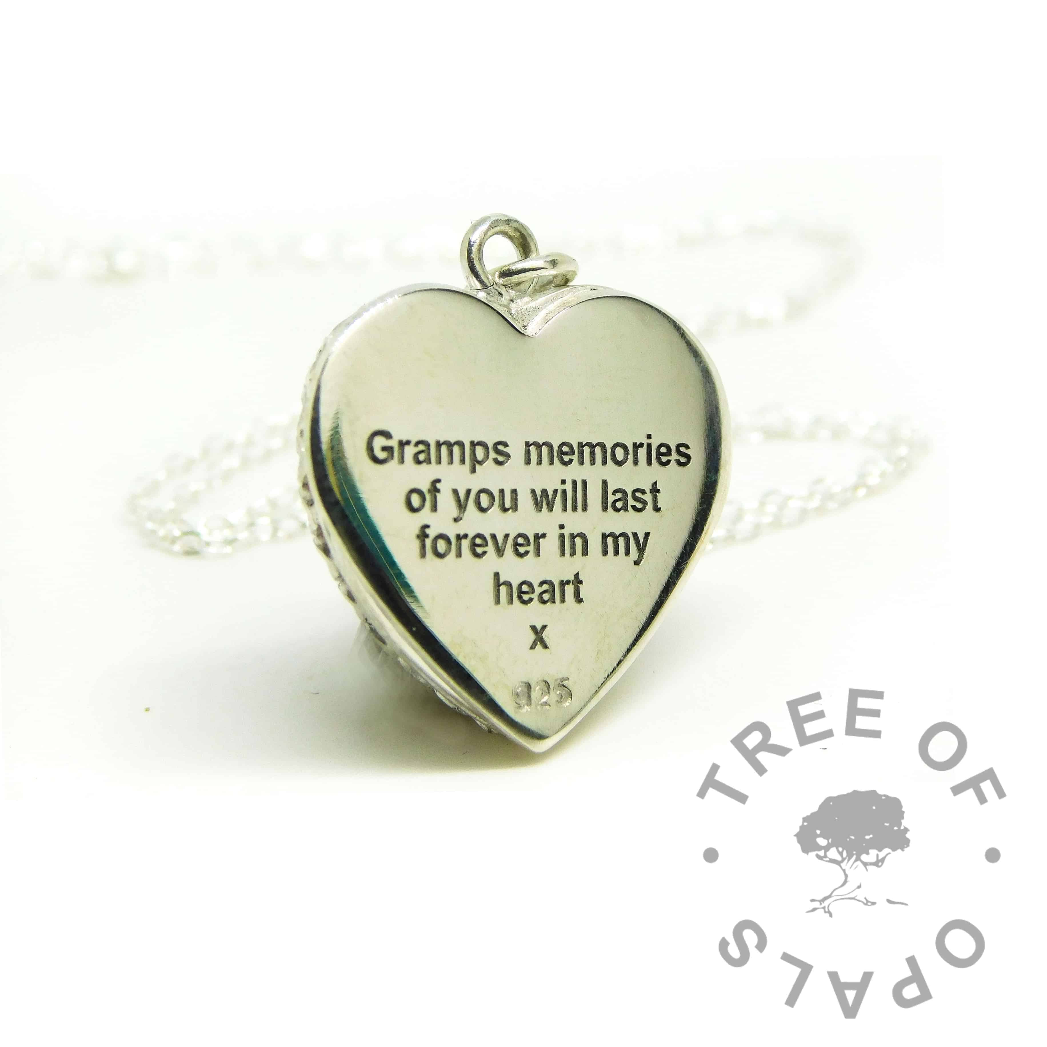 memories of you engraved heart necklace. Arial font