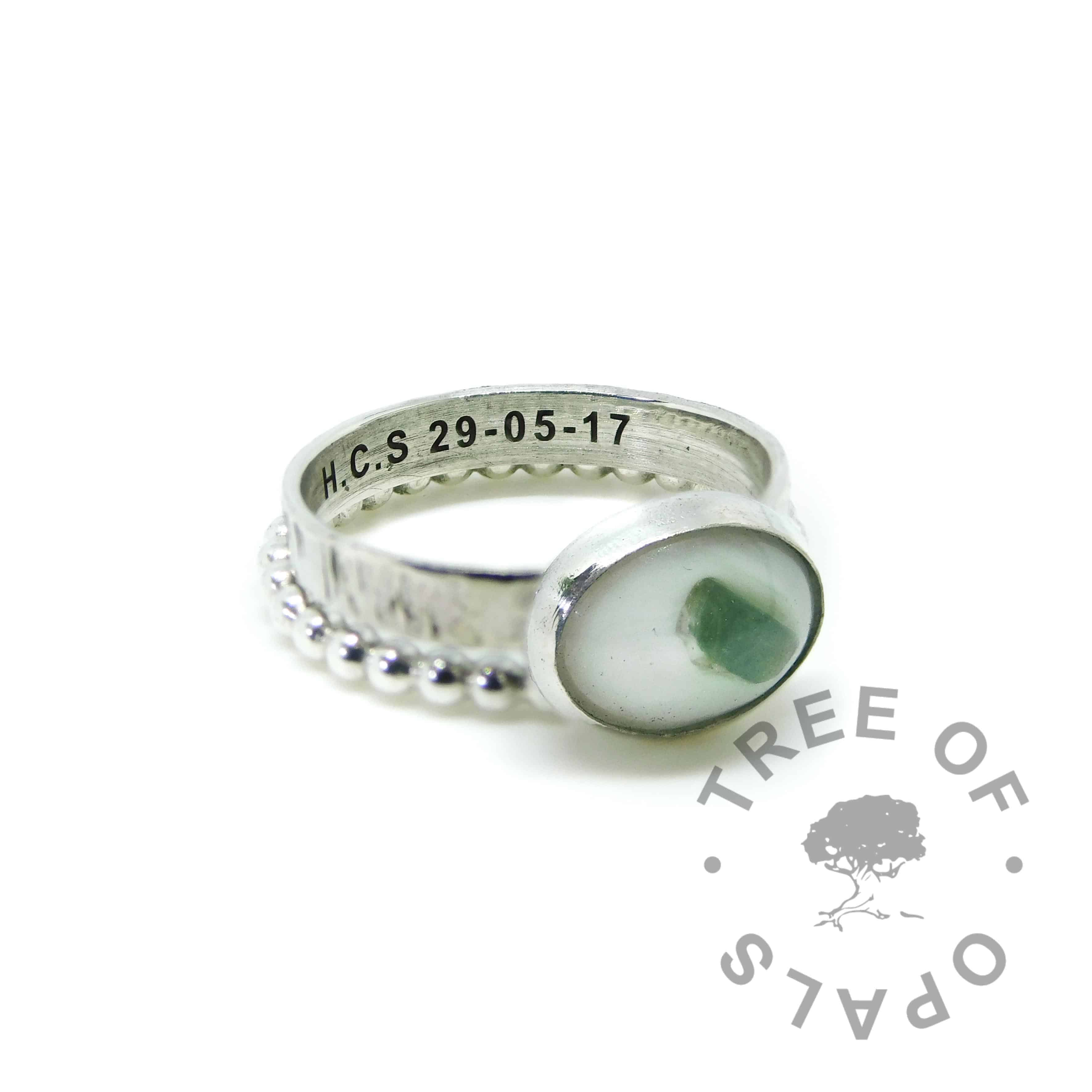 milk ring tree breastmilk and May birthstone emerald on tree bark ring (special request) engraved with DOB shown with bubble wire stacking band. Handmade solid sterling silver keepsake jewellery by Tree of Opals