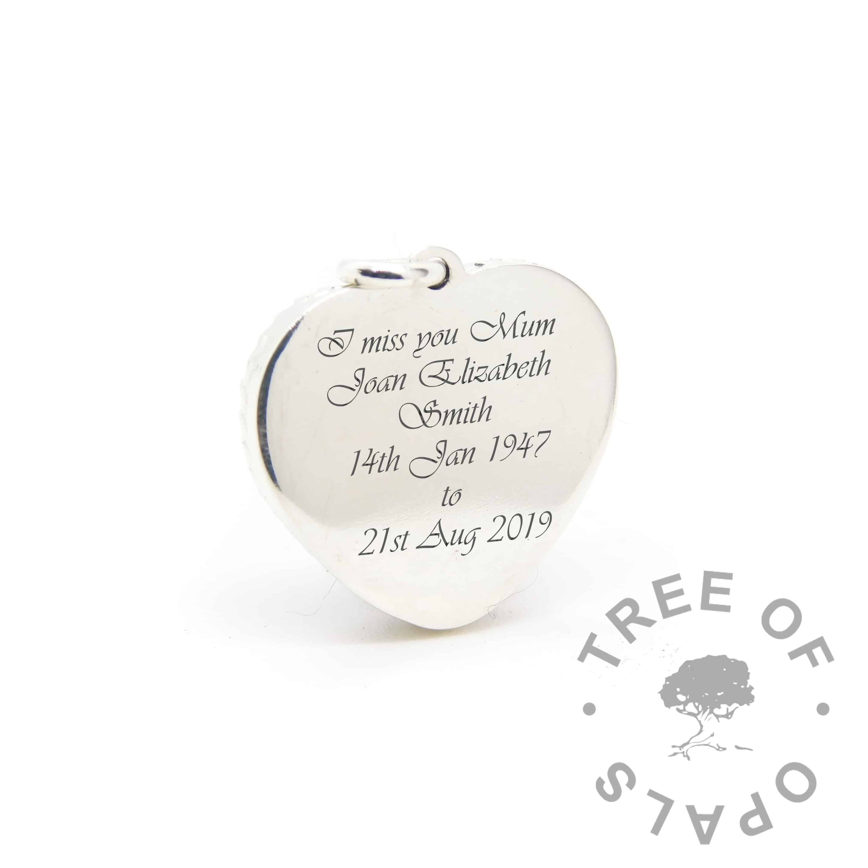 new style heart necklace back, engraving in Vivaldi font (engraving mockup)