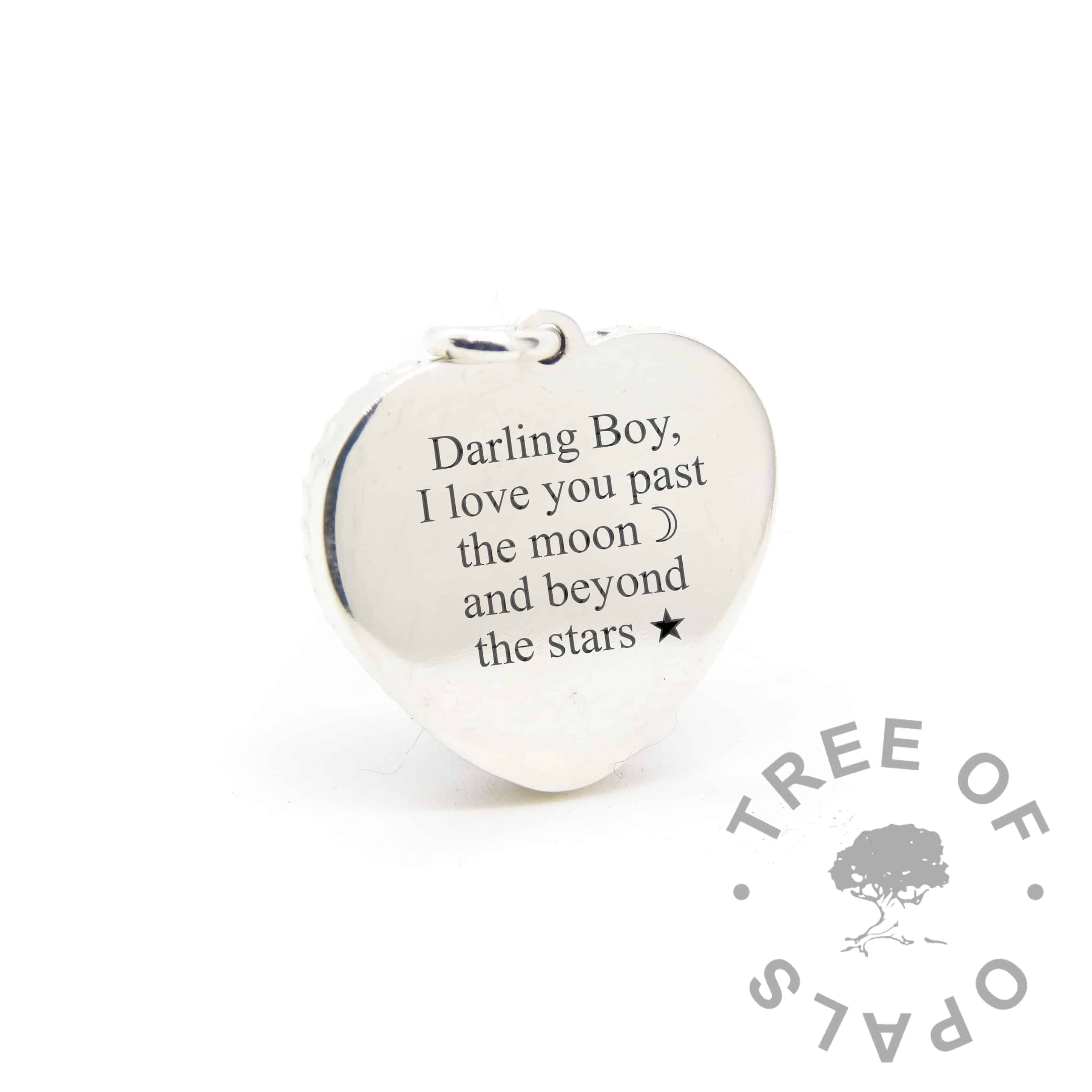 new style heart necklace back, engraving in Times New Roman font with moon and stars emojis (engraving mockup)