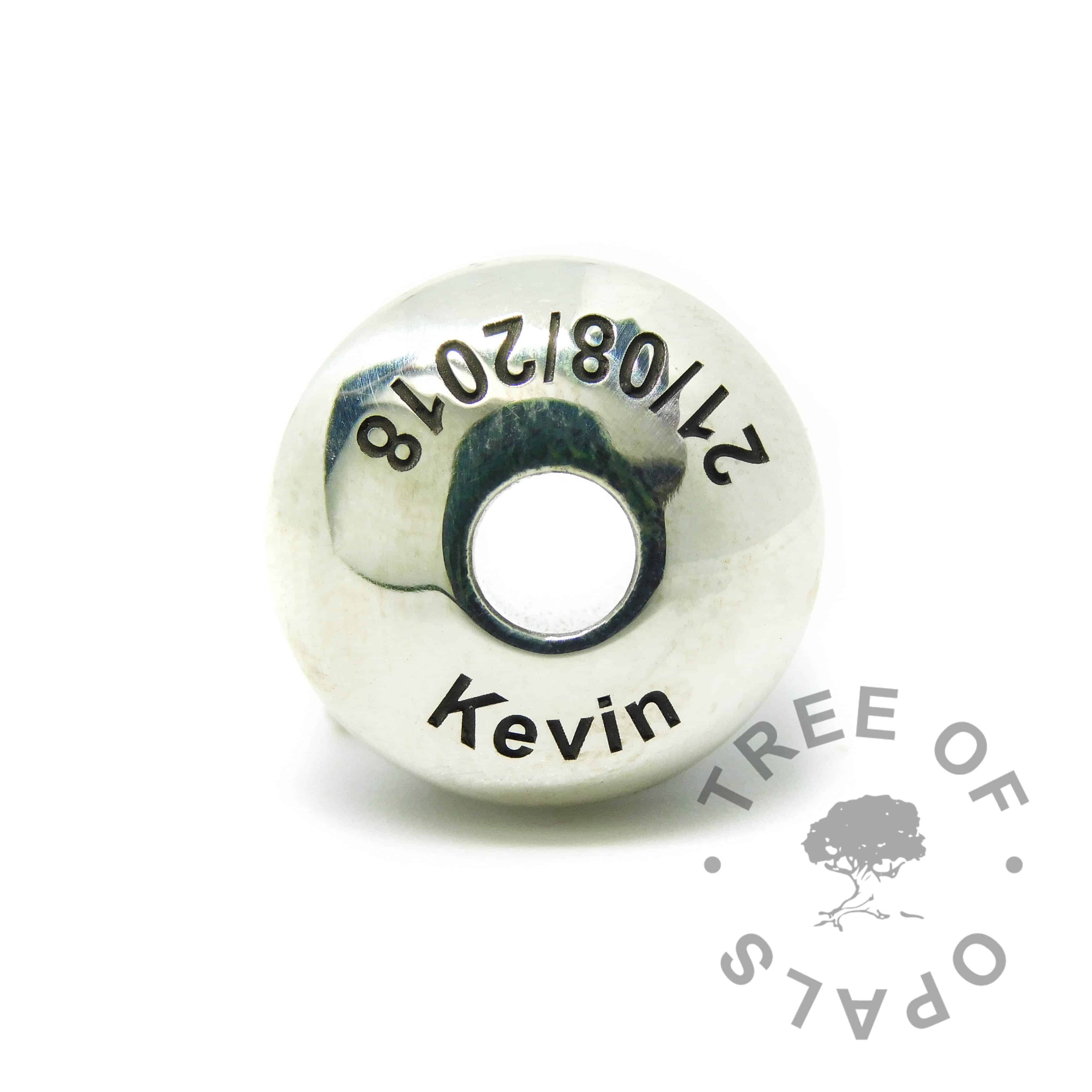 Arial font engraved  charm washer. Handmade with solid sterling EcoSilver, 925 stamped on the back. Watermarked copyright Tree of Opals memorial jewellery image