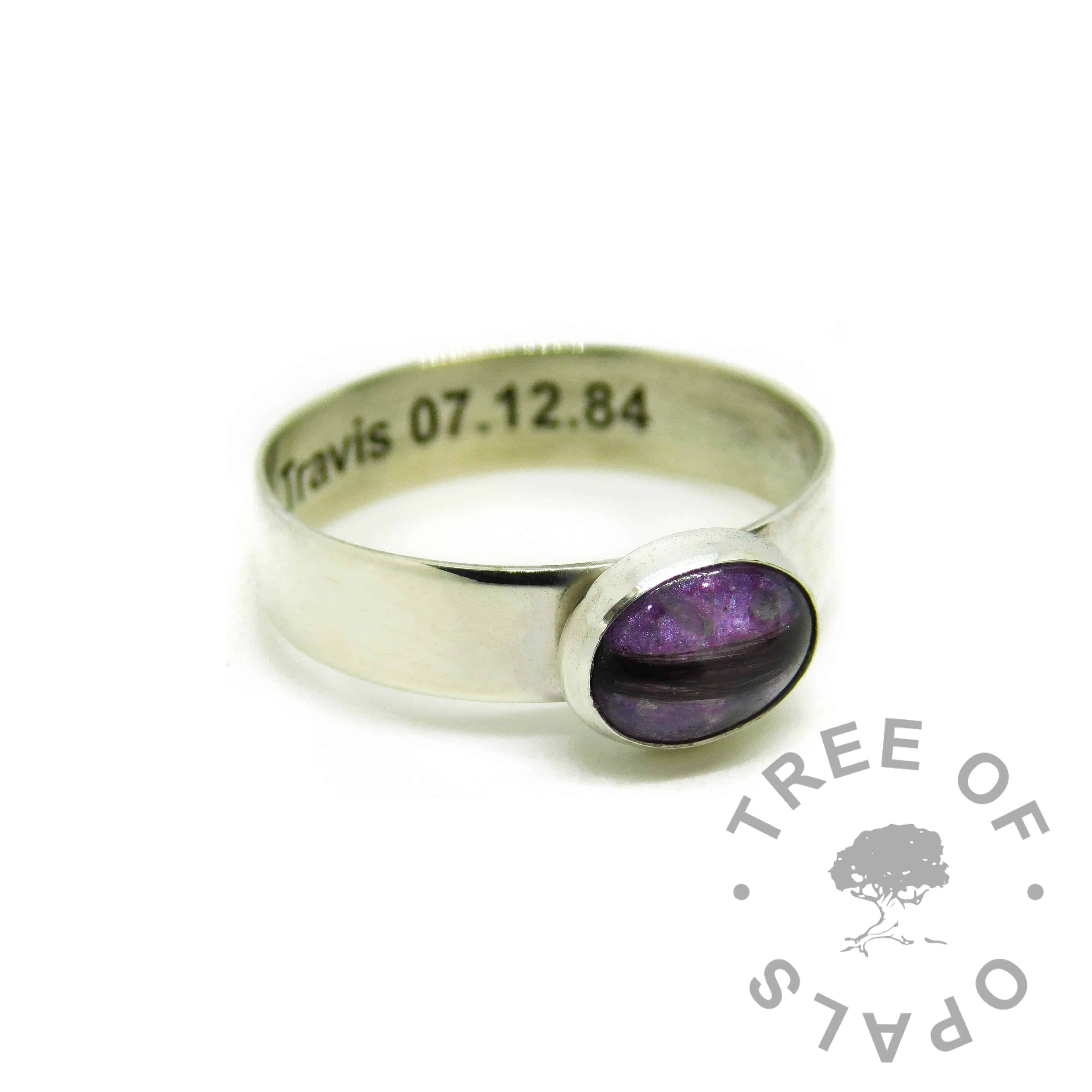 orchid purple resin sparkle mix and hair ring, 6mm shiny band engraved inside with arial font
