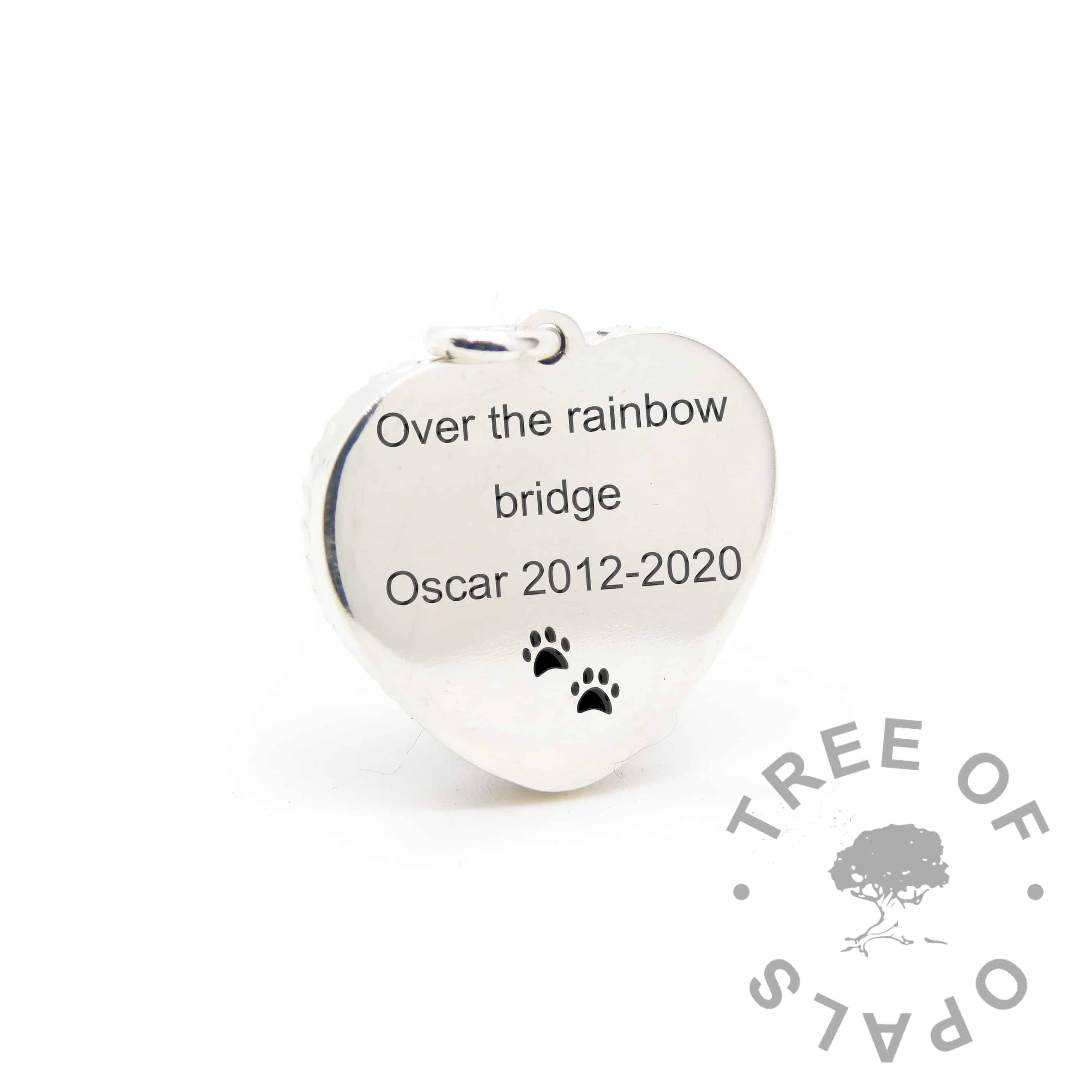 New style heart necklace setting back, with Arial font and paw print emojis engraving mockup (shown without necklace chain)
