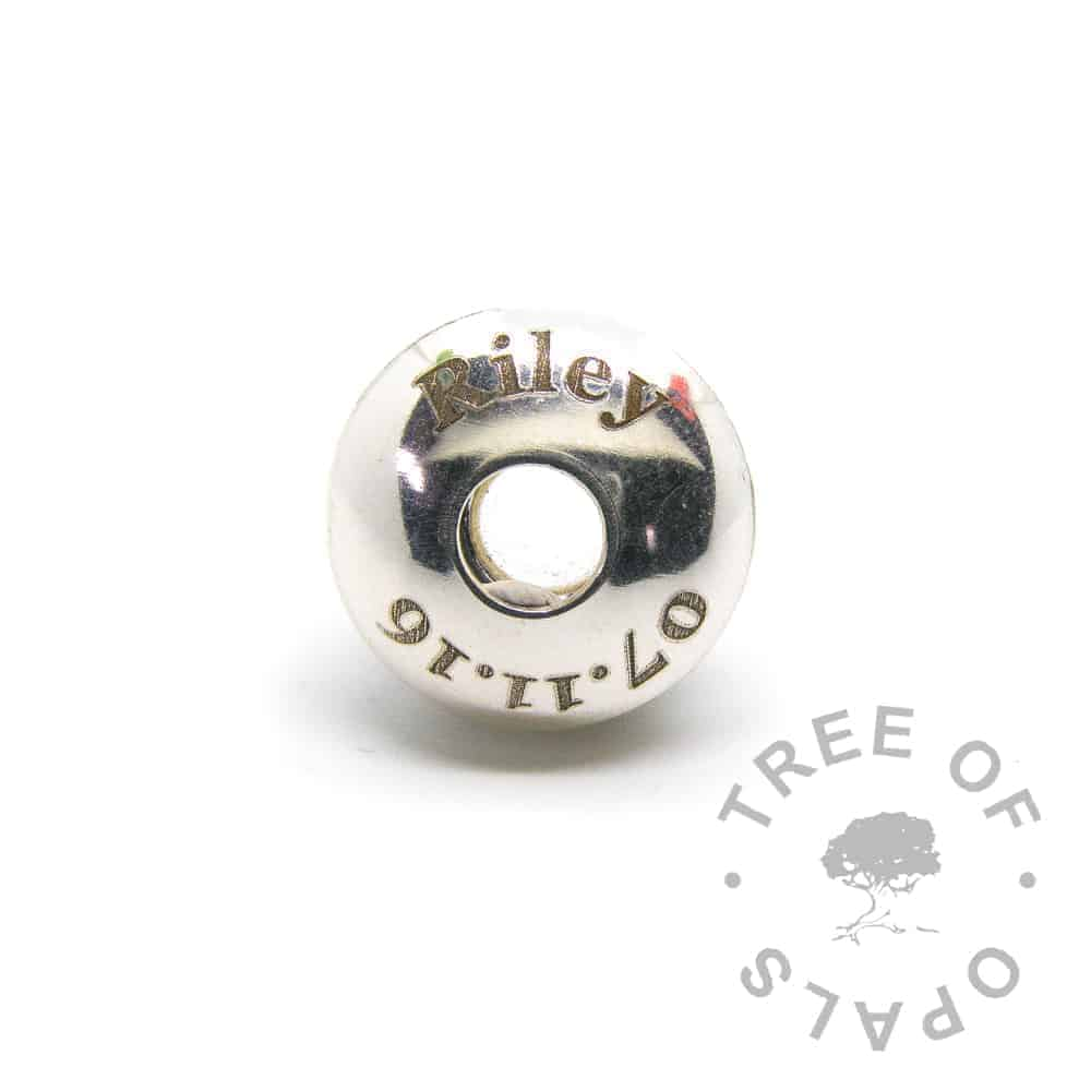 baby laser engraved charm washer baby date of birth charm Tree of Opals