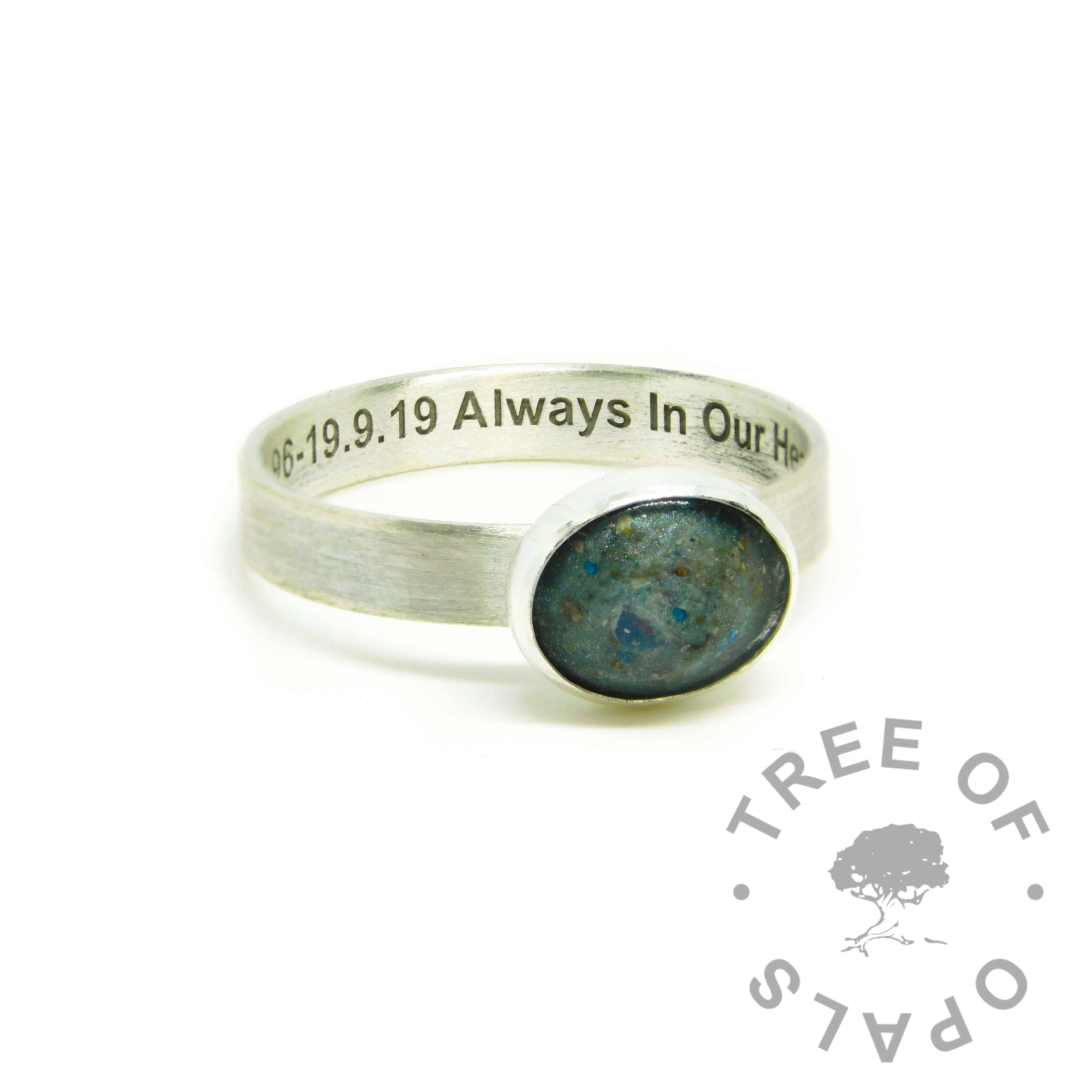 teal ashes ring, cremation ashes ring on brushed band. Mermaid teal resin sparkle mix. Engraved inside in Arial font