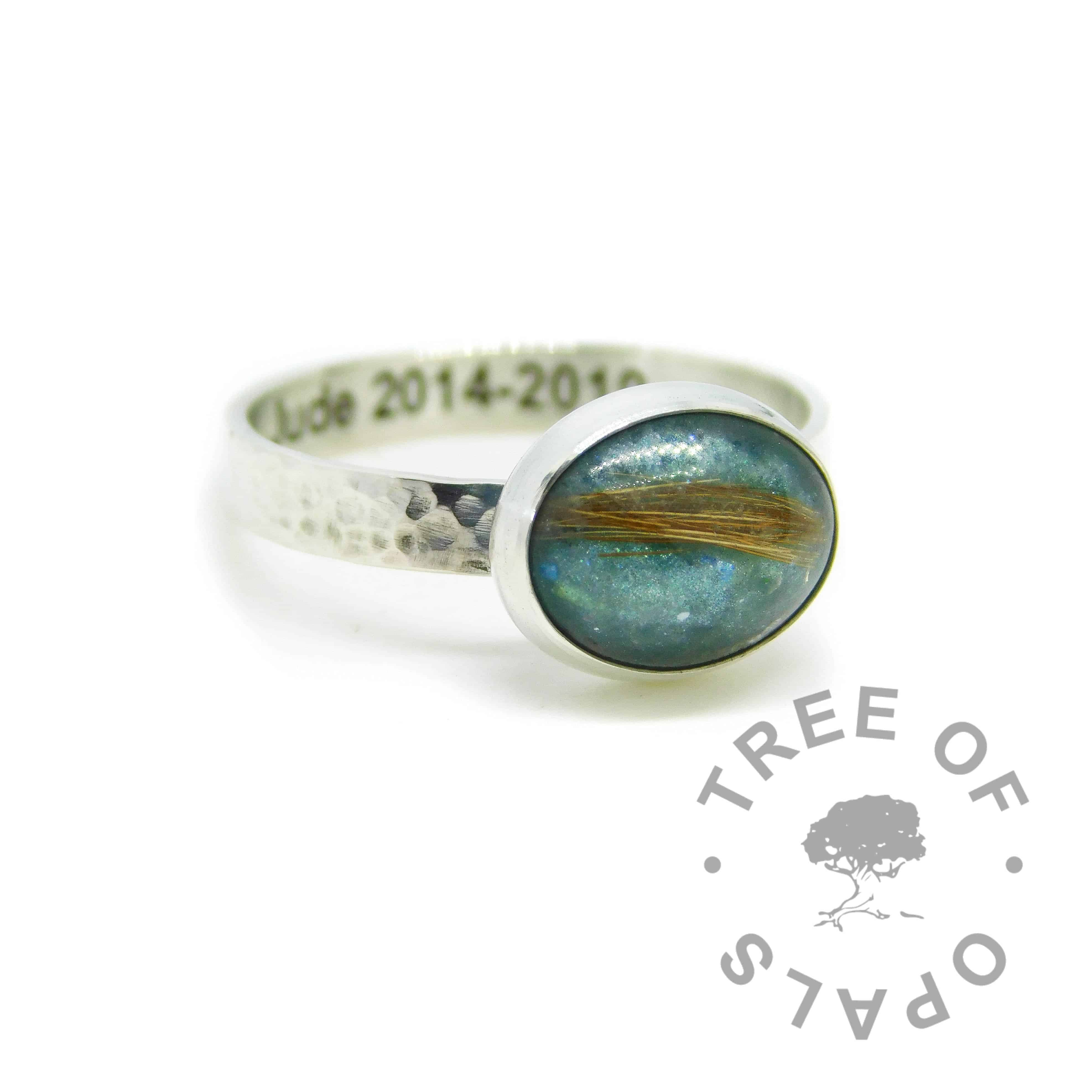 Engraved textured band lock of hair fur ring with mermaid teal resin sparkle mix and strawberry blonde hair. Engraved inside in Arial font. Handmade solid sterling silver memorial ring
