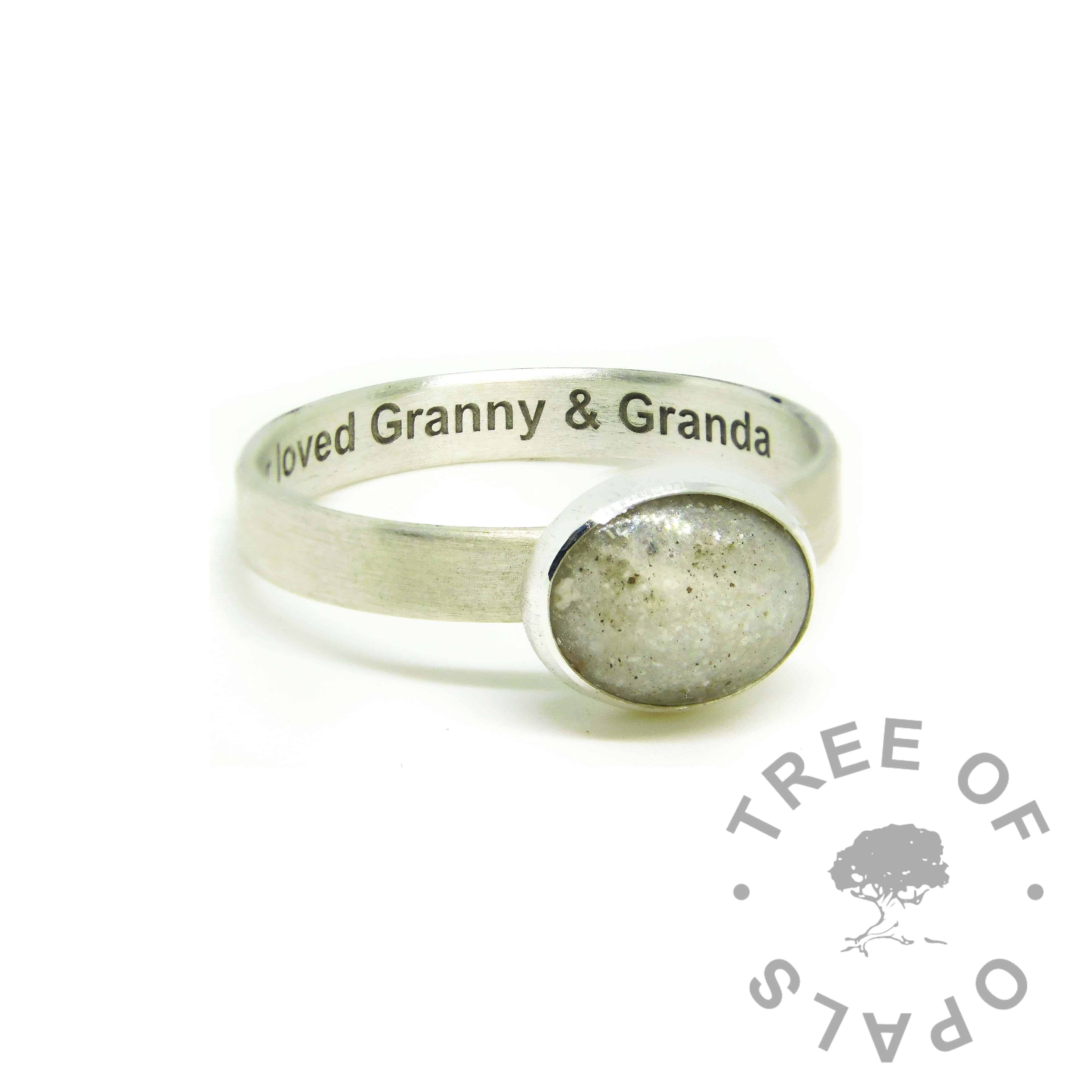 white ashes ring, cremation ashes ring on brushed band. Unicorn white resin sparkle mix, naturally light ashes. Engraved inside in Arial font