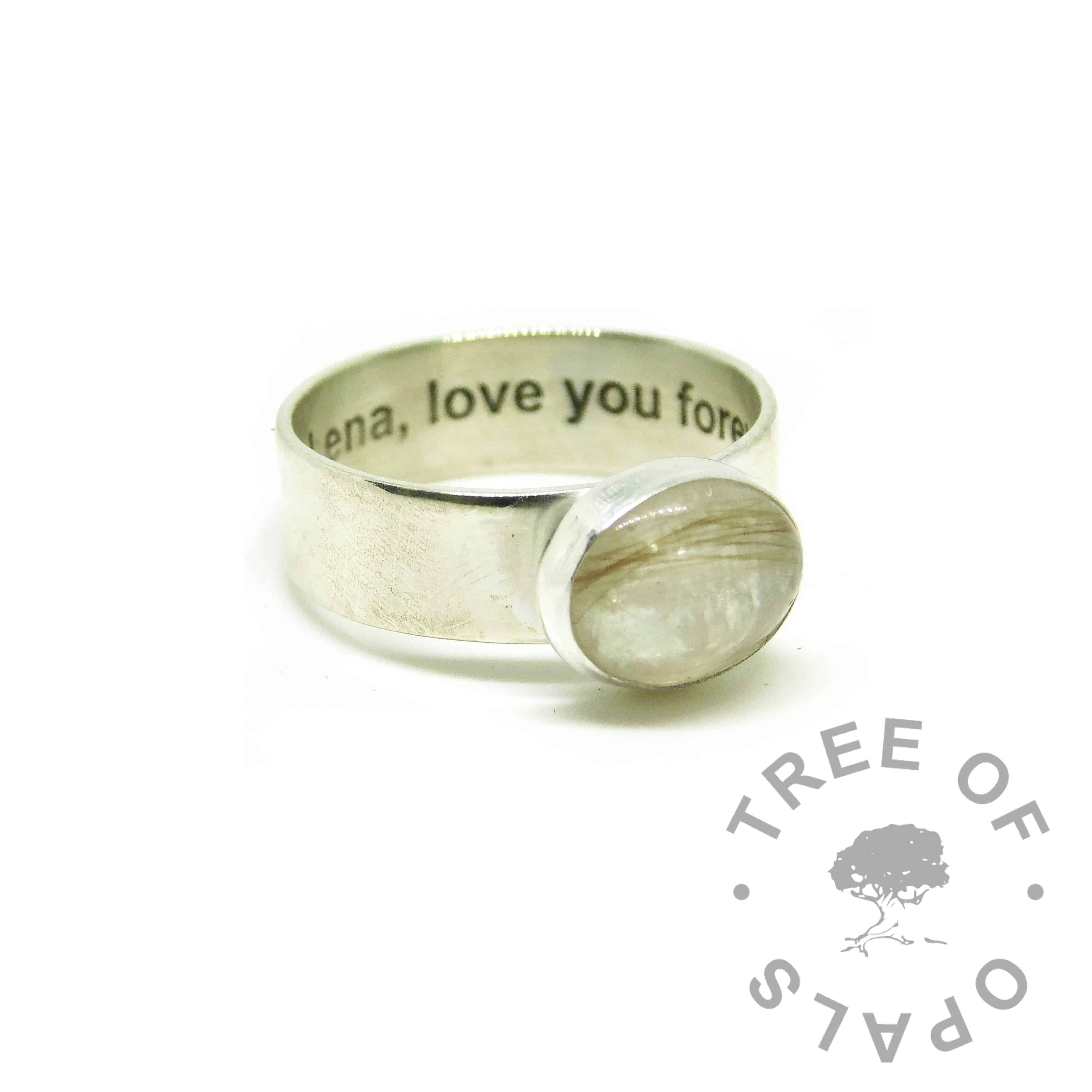 white hair ring, lock of hair ring on 6mm shiny band with Arial font engraving on the inside. Unicorn white resin sparkle mix. Love you forever