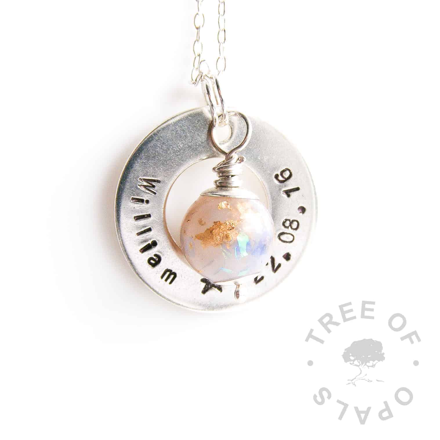breastmilk pearl necklace washer gold leaf and white opalescent flakes, hand stamped with name and DOB in solid sterling silver