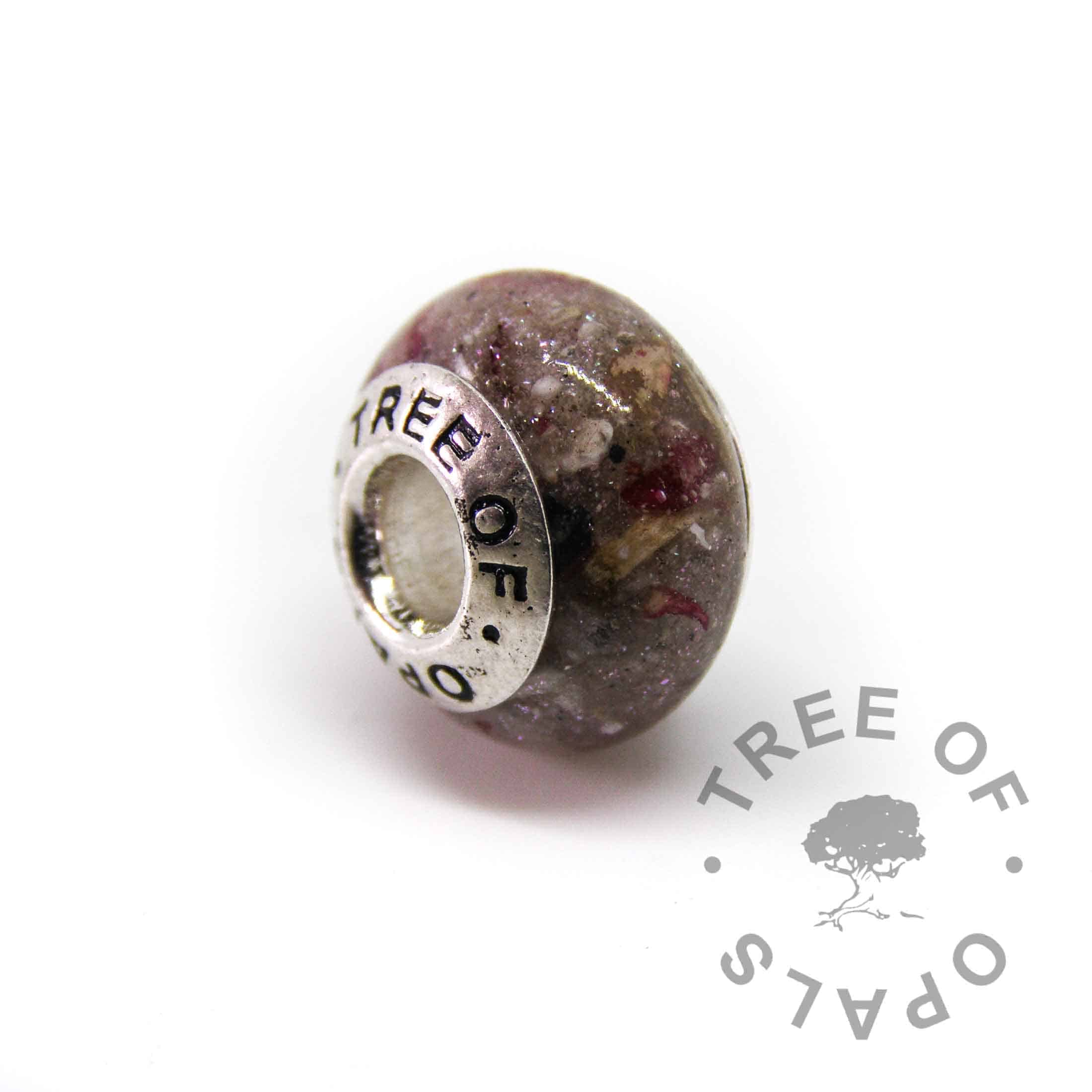 cremation ash charm with aquamarine March birthstone, rose petals, unicorn white sparkles and silver Tree of Opals core for Pandora bracelets