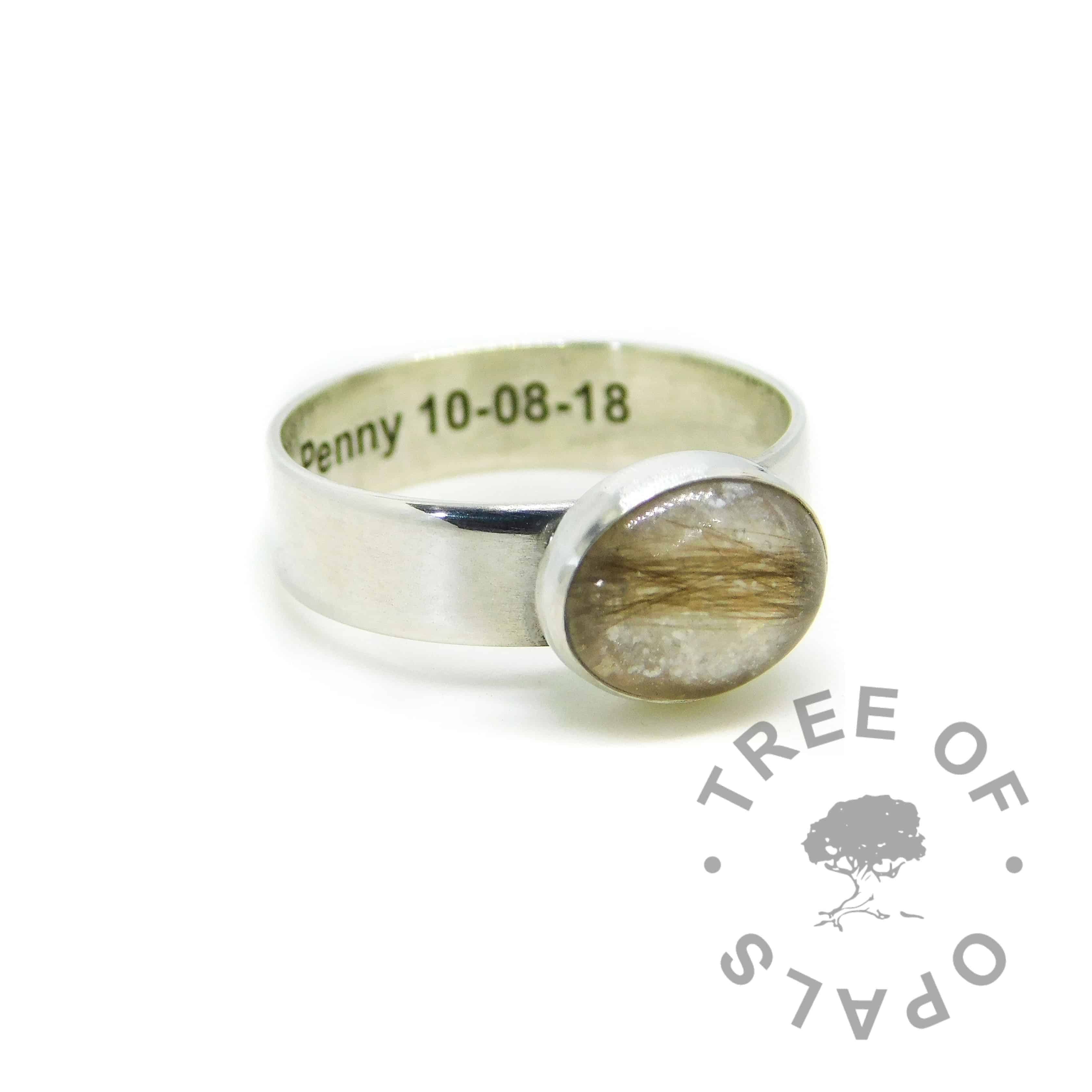 Engraved 6mm lock of hair ring with unicorn white sparkle mix and subtle August birthstone peridot. Engraved inside in Arial font. Handmade solid sterling silver memorial ring