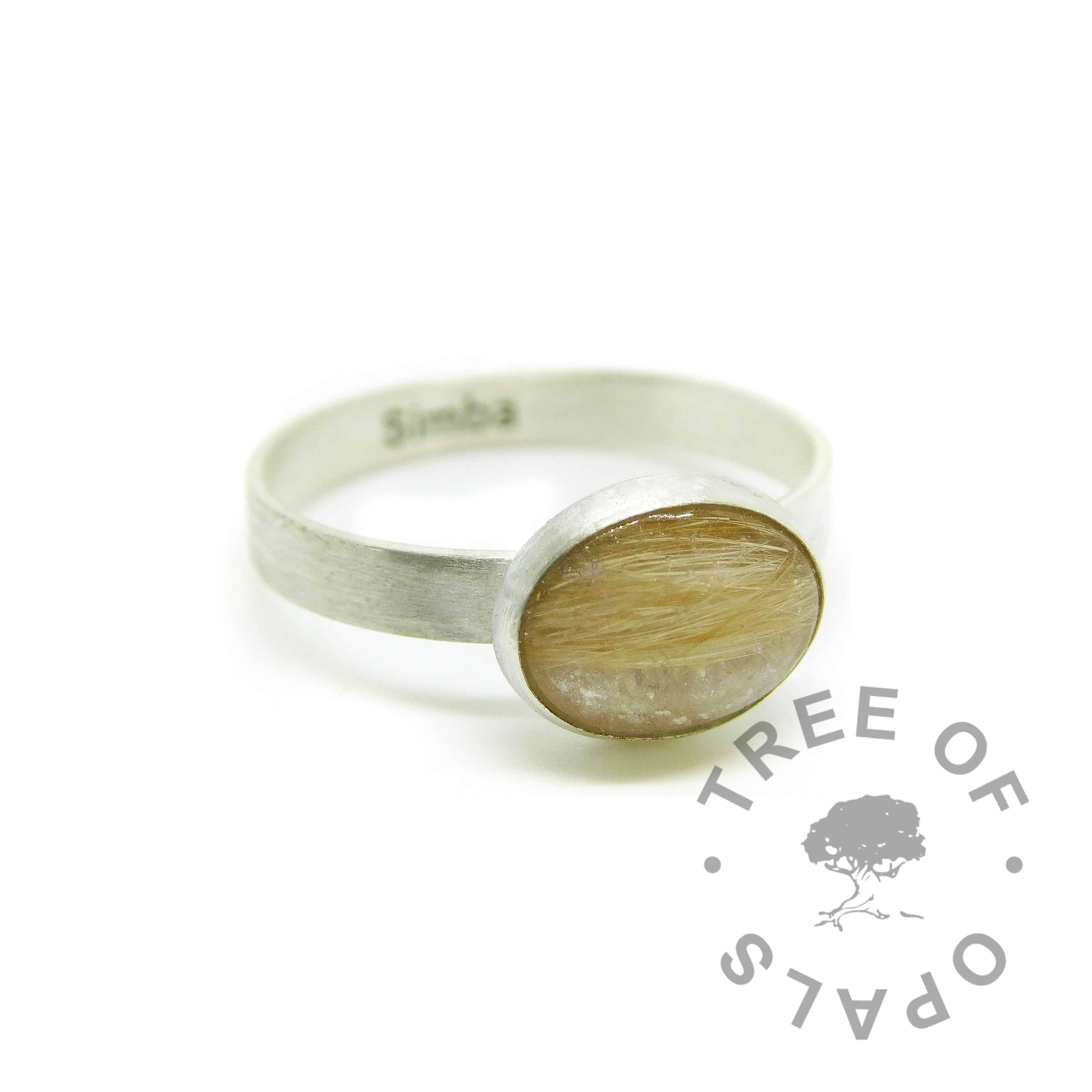 engraved solid eco silver brushed band ring with ginger fur