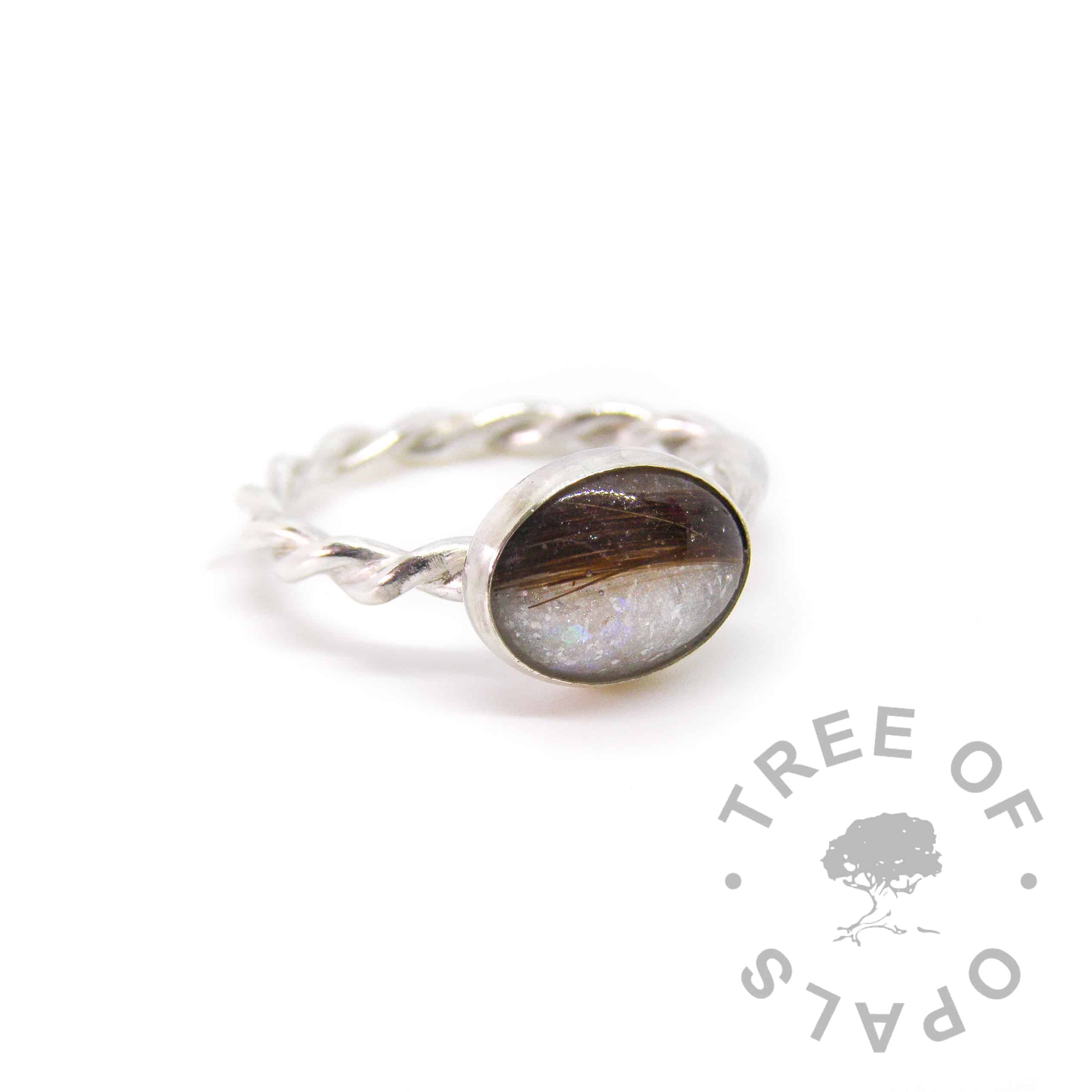 lock of hair ring, unicorn white sparkle mix on a twisted wire band, handmade by Tree of Opals in solid sterling silver