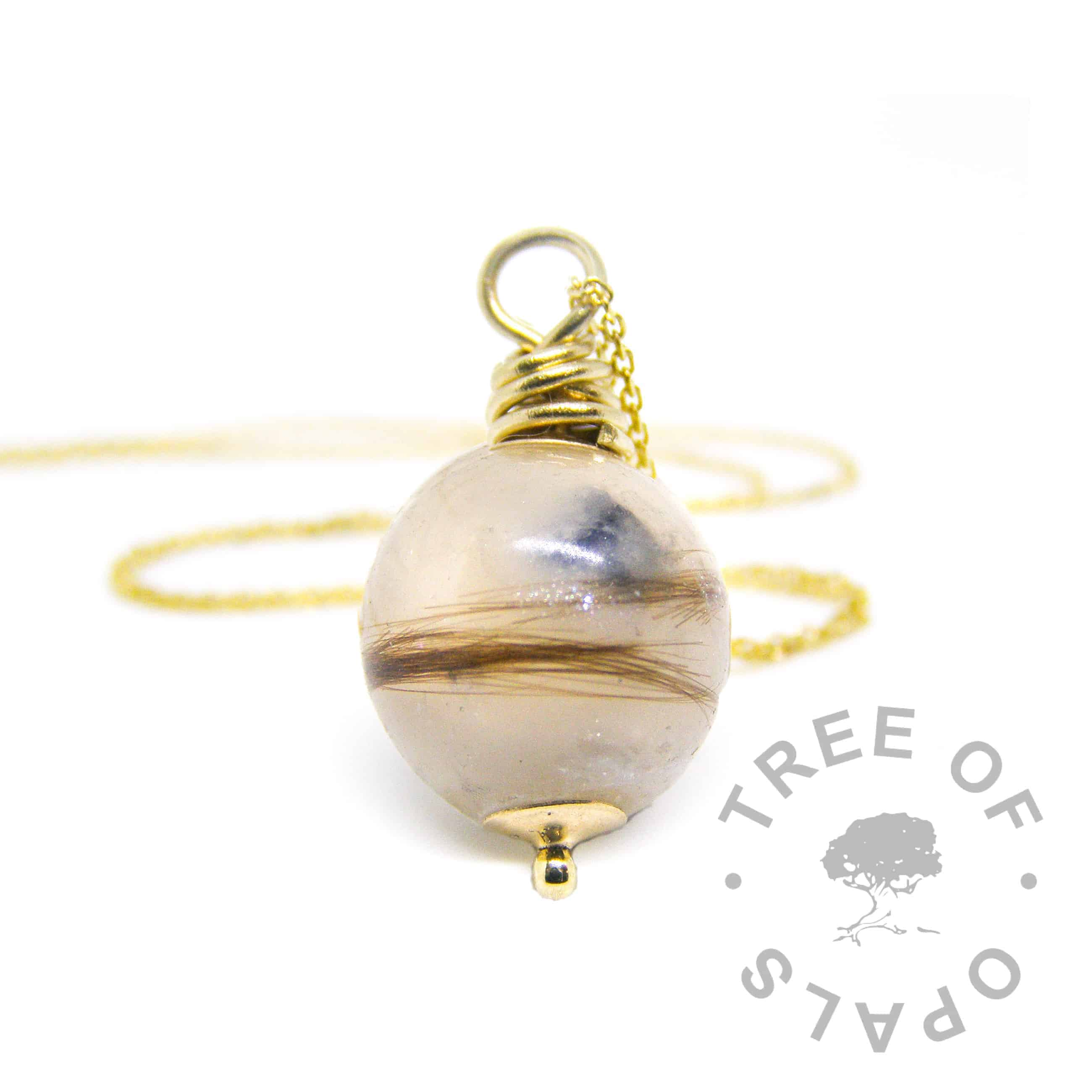 solid gold lock of hair pearl necklace, 9ct gold hand wire wrapped setting, gossamer weight light chain, sapphire September birthstone, unicorn white sparkle mix