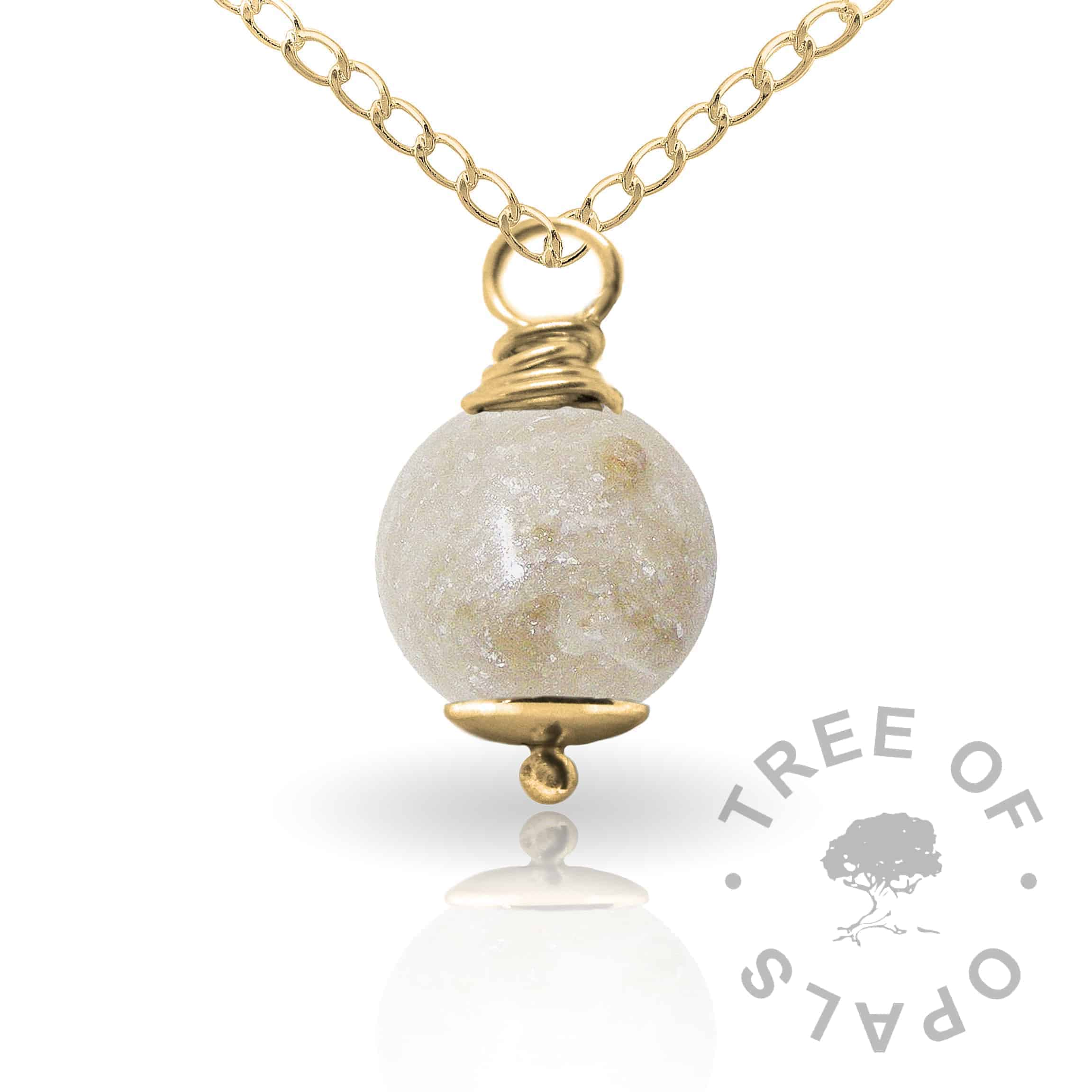 unicorn white gold cremation ash pearl Tree of Opals memorial jewellery