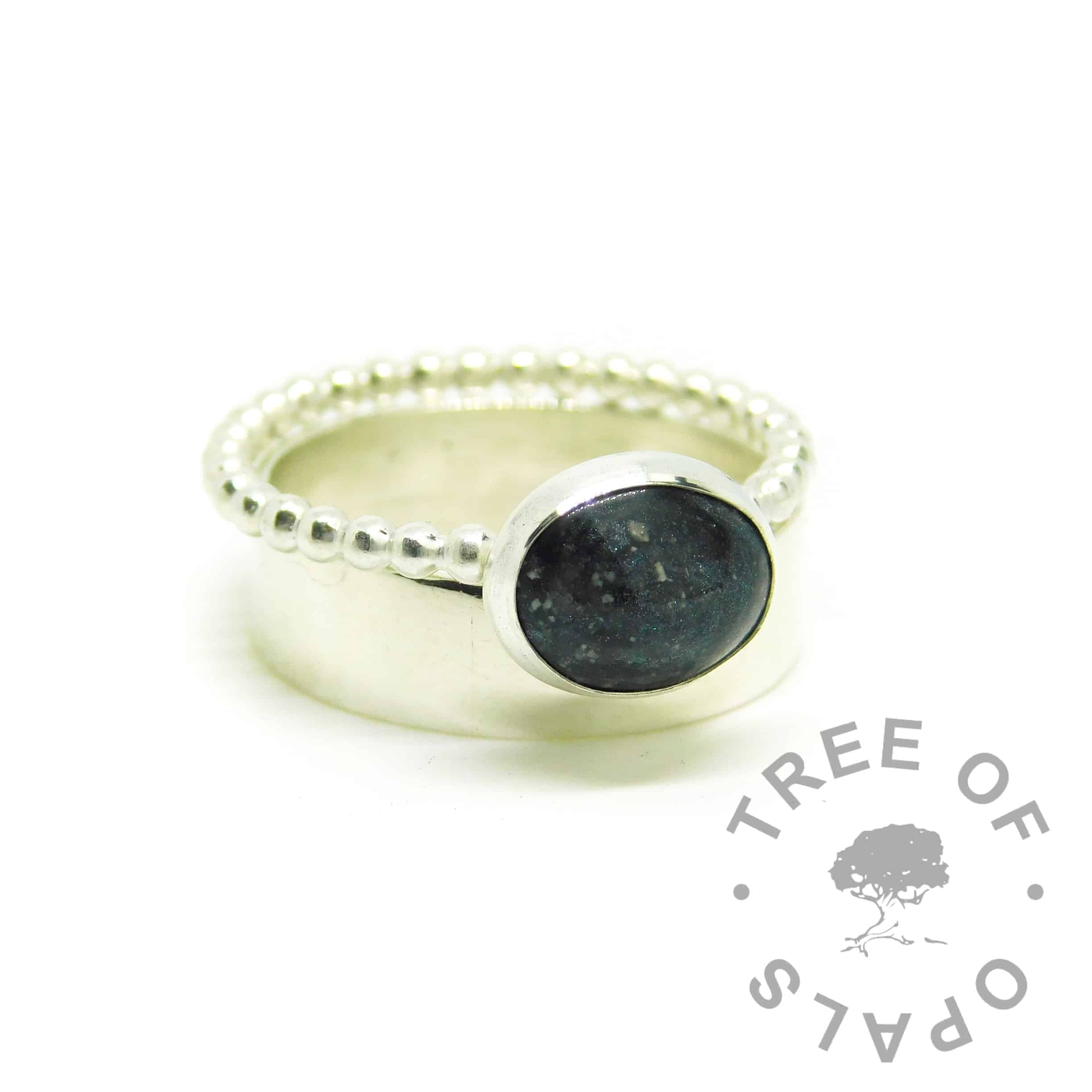 black ashes jewellery ring on Argentium silve 935 bubble wire band. Vampire black resin sparkle mix. Solid Argentium 935 purity silver band. 6mm shiny band, engravable