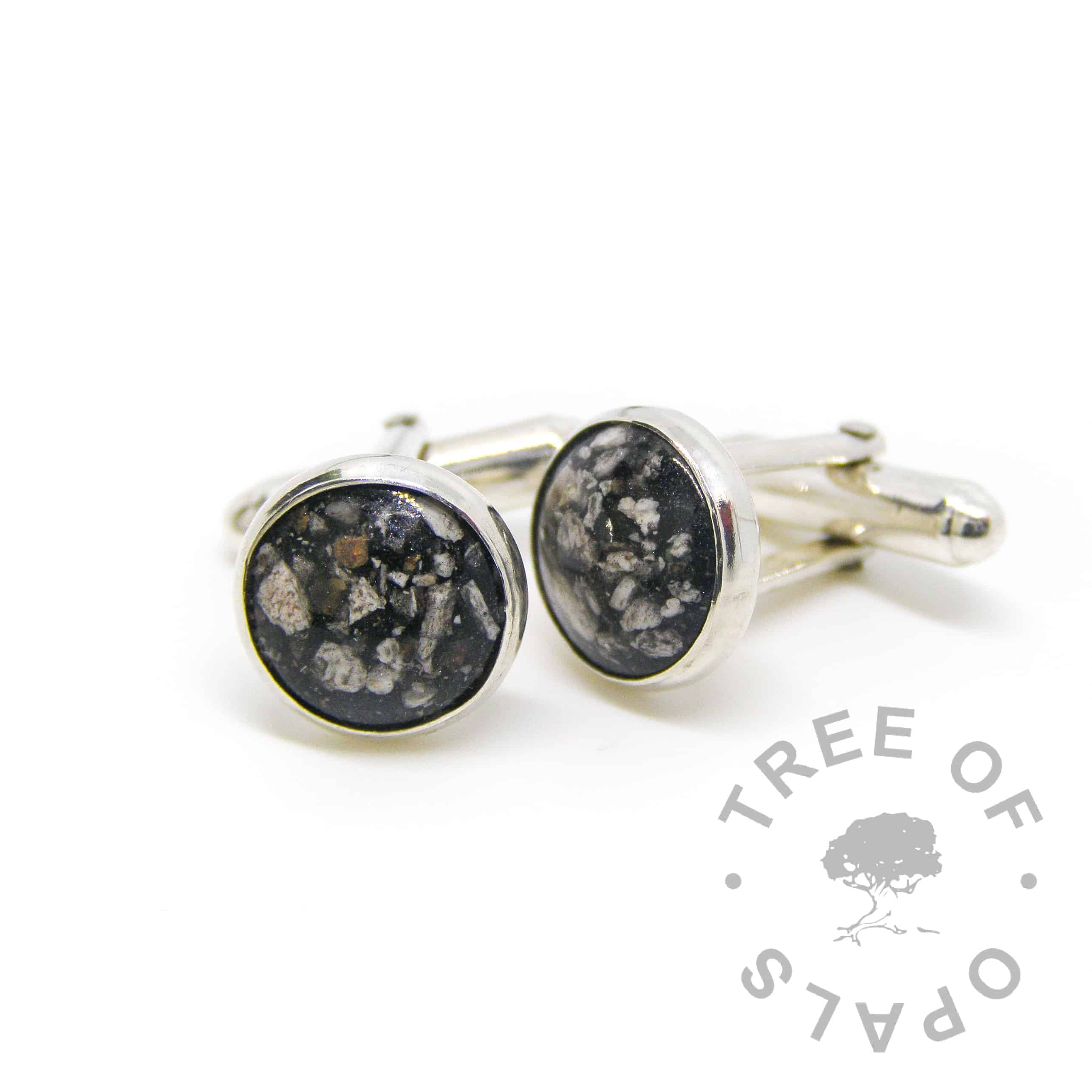 cremation ash cufflinks vampire black sparkle mix, groom jewellery for weddings, solid sterling silver handmade cufflink settings with 12mm cabochons