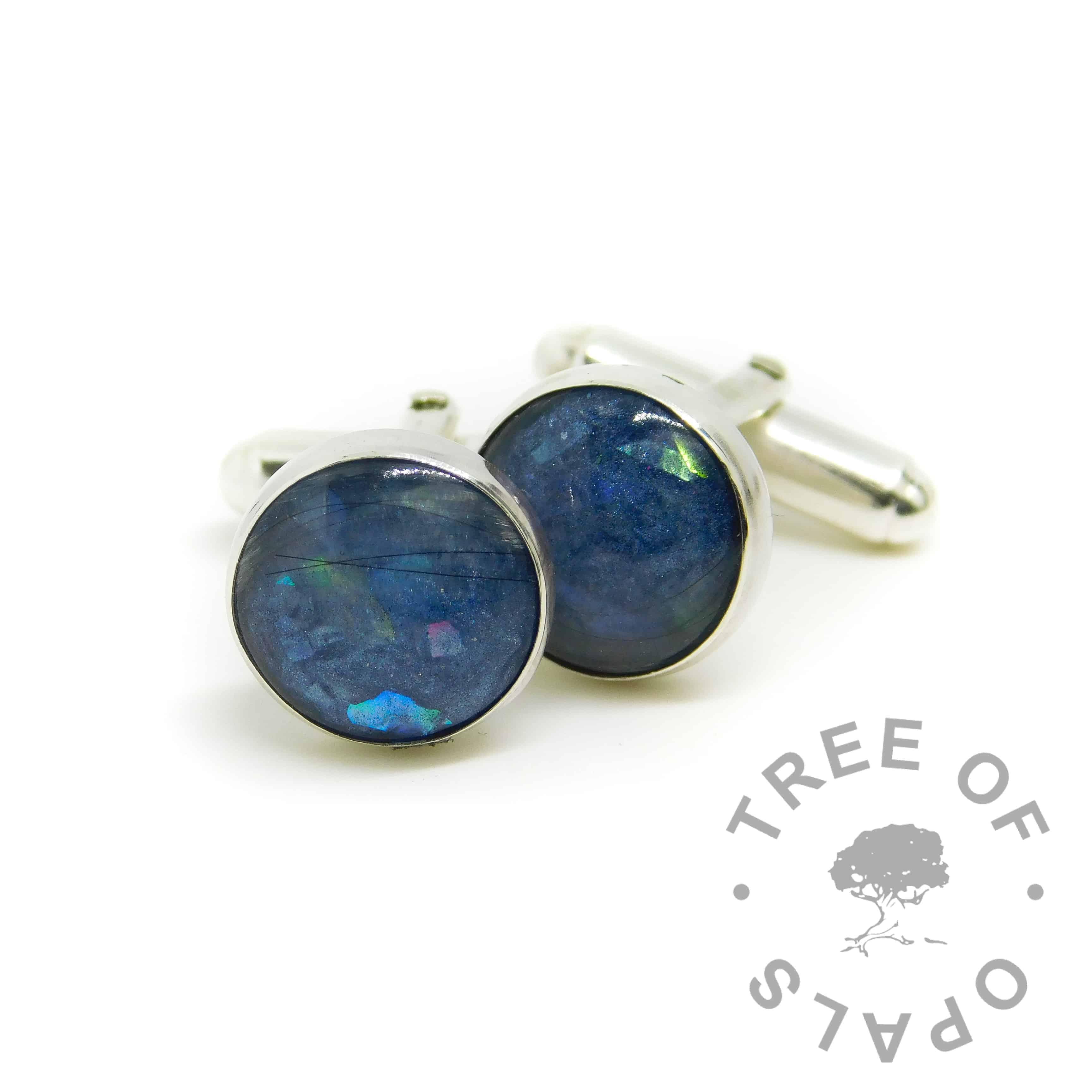 lock of hair cufflinks with Aegean Blue Resin Sparkle Mix, white/clear see-through hair