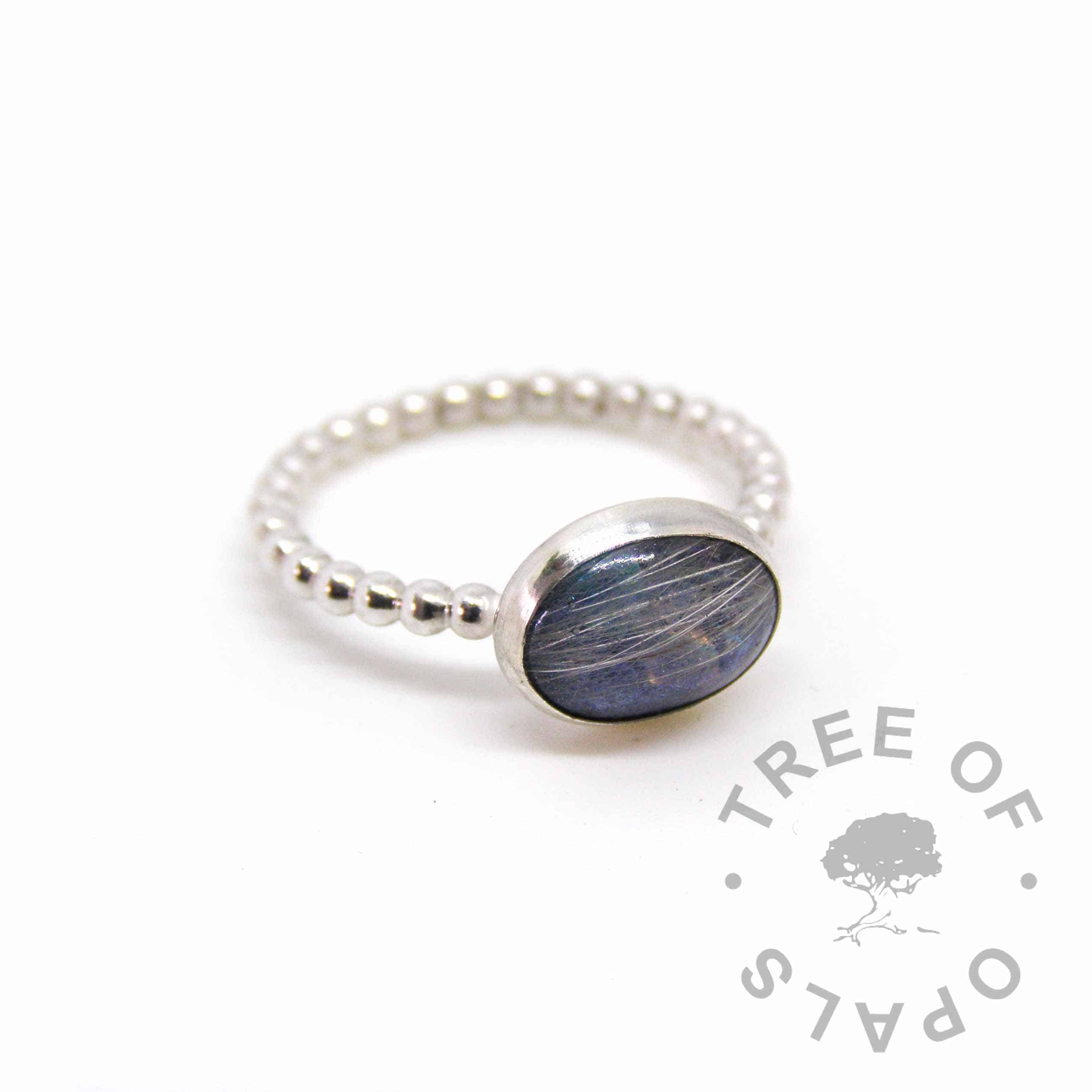 Aegean blue sparkle mix and white dog fur ring on bubble wire band, handmade by Tree of Opals pet memorial ring