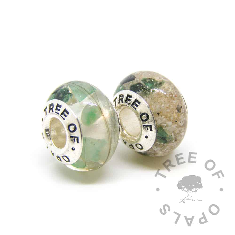May birthstone emerald memorial charm duo, lock of hair and cremation ashes in crystal clear resin (classic) and Tree of Opals solid sterling silver charm cores for Pandora bracelets