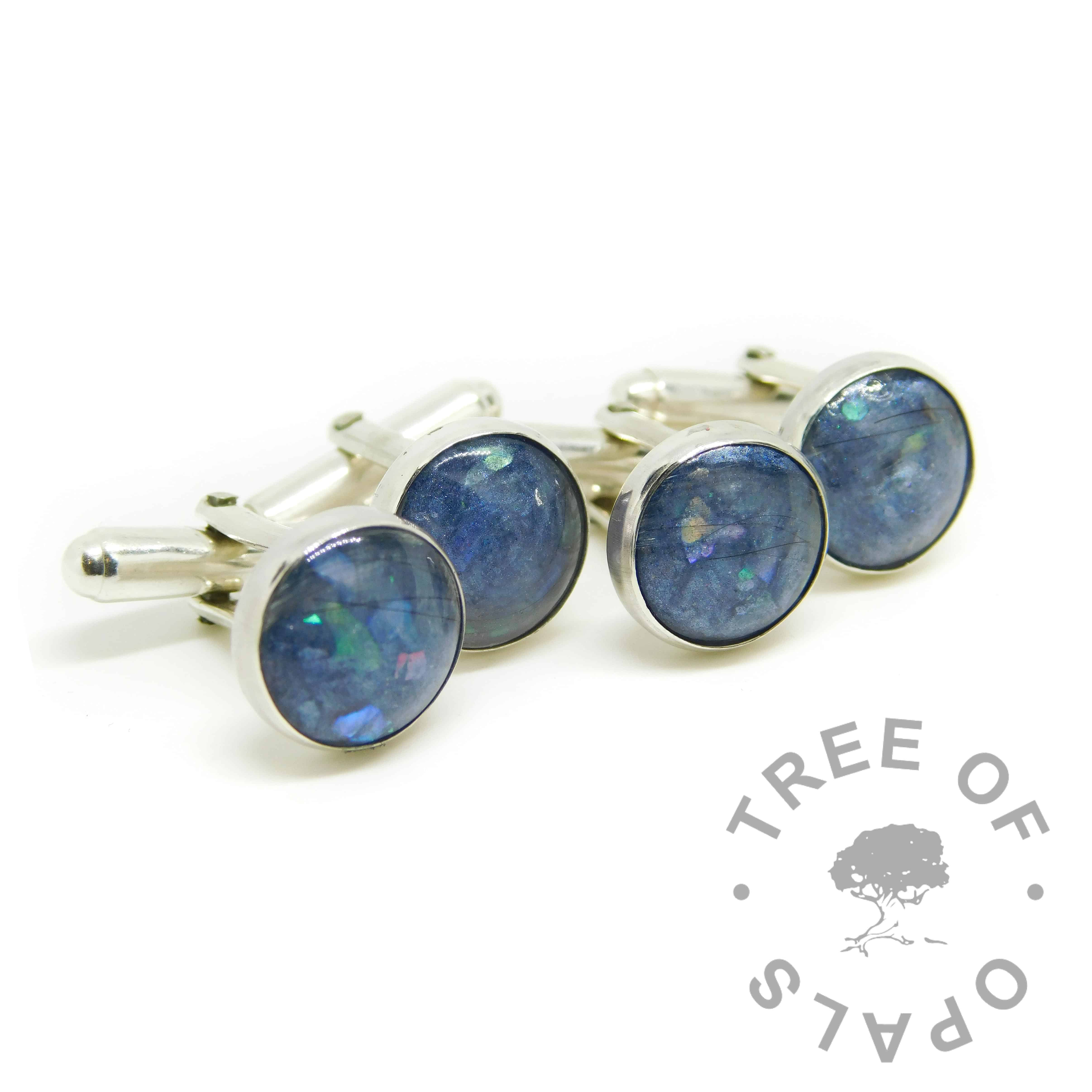 lock of hair cufflinks with Aegean Blue Resin Sparkle Mix, white/clear see-through hair, two pairs