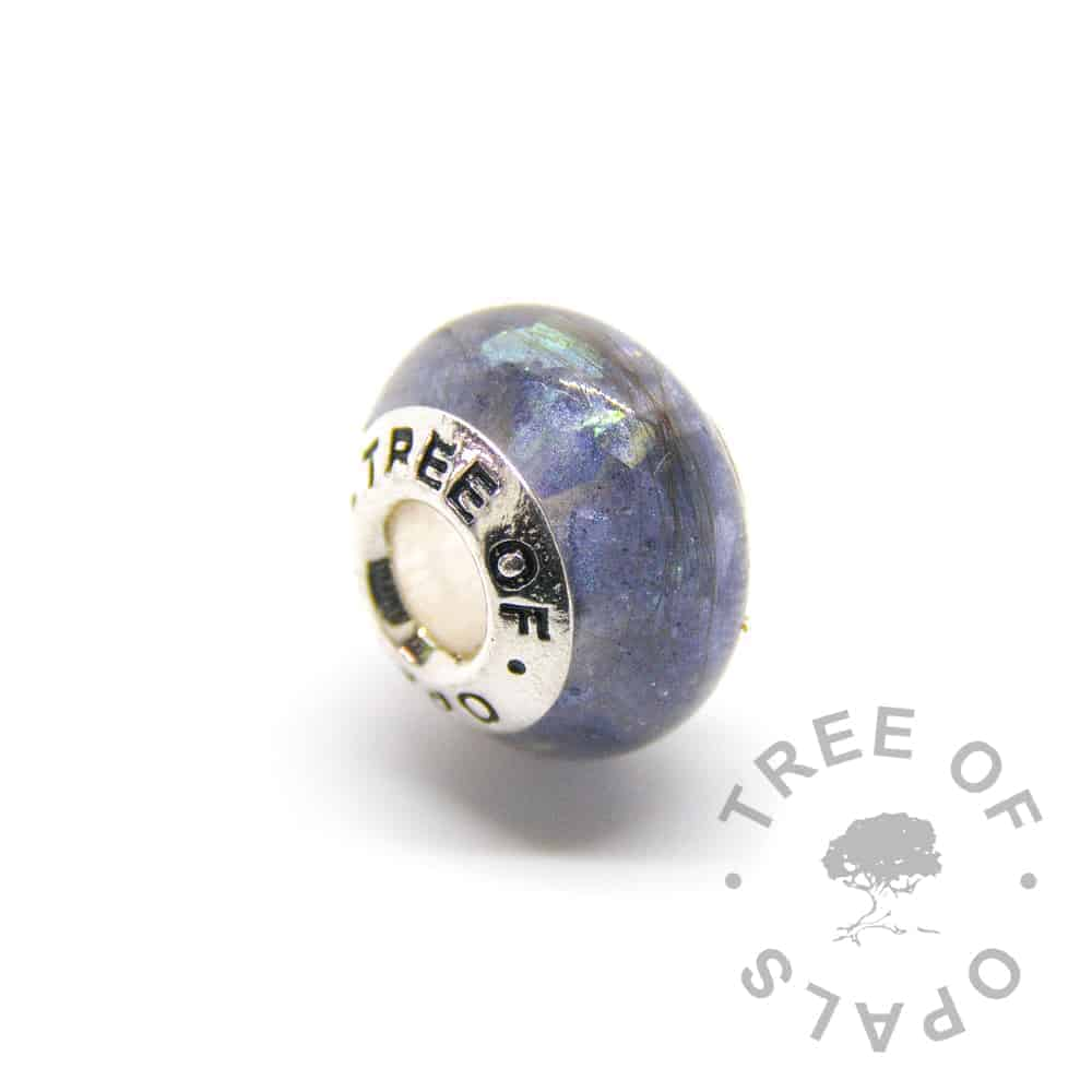 aegean blue lock of hair charm with Tree of Opals core