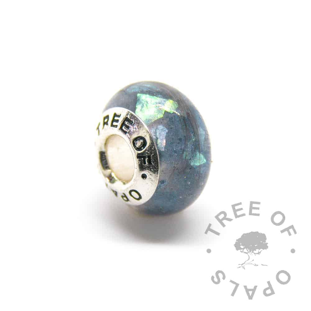 lock of hair charm mermaid teal sparkle mix and solid sterling silver Tree of Opals core