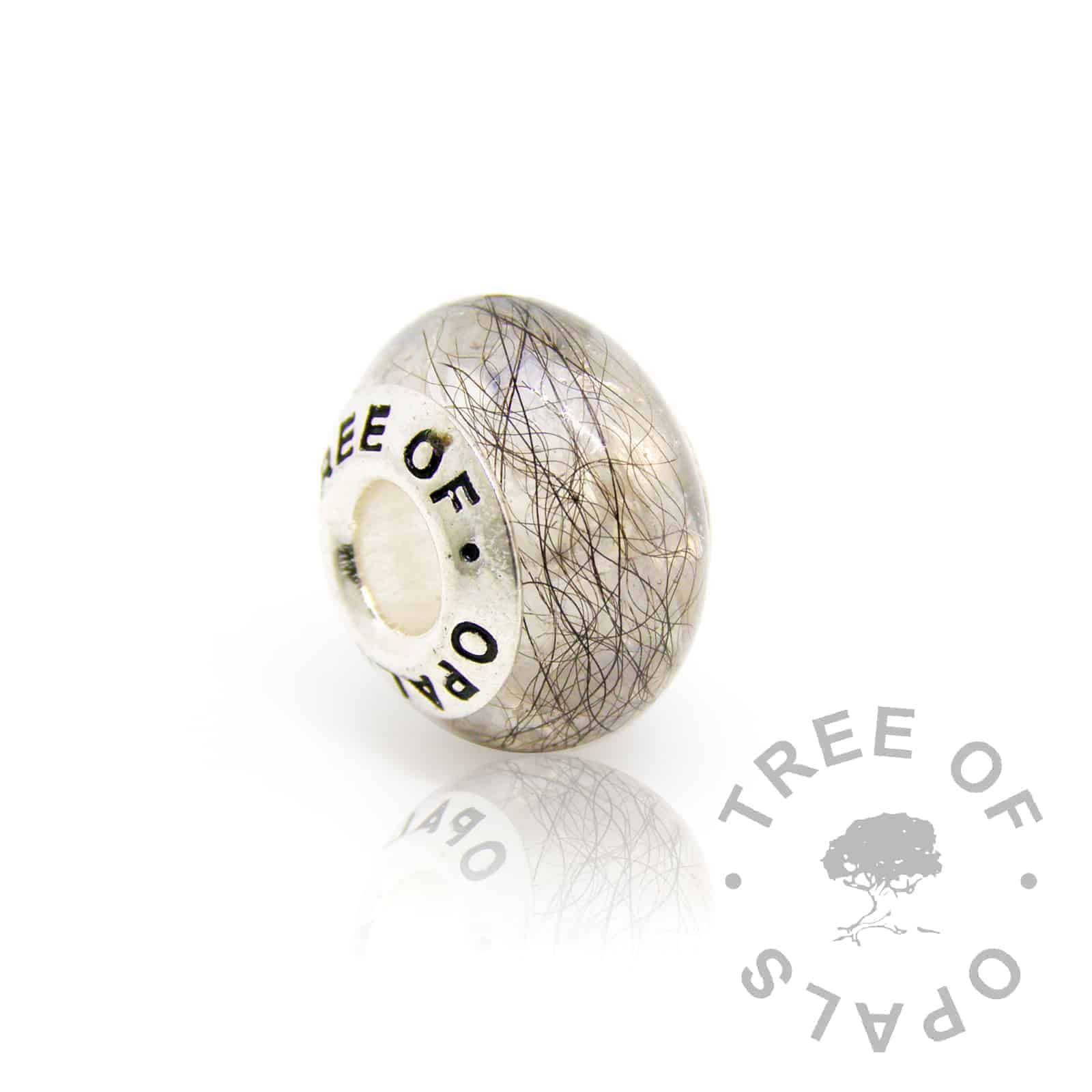 lock of hair and June birthstone moonstone charm for Pandora bracelets in clear resin with solid sterling silver Tree of Opals core