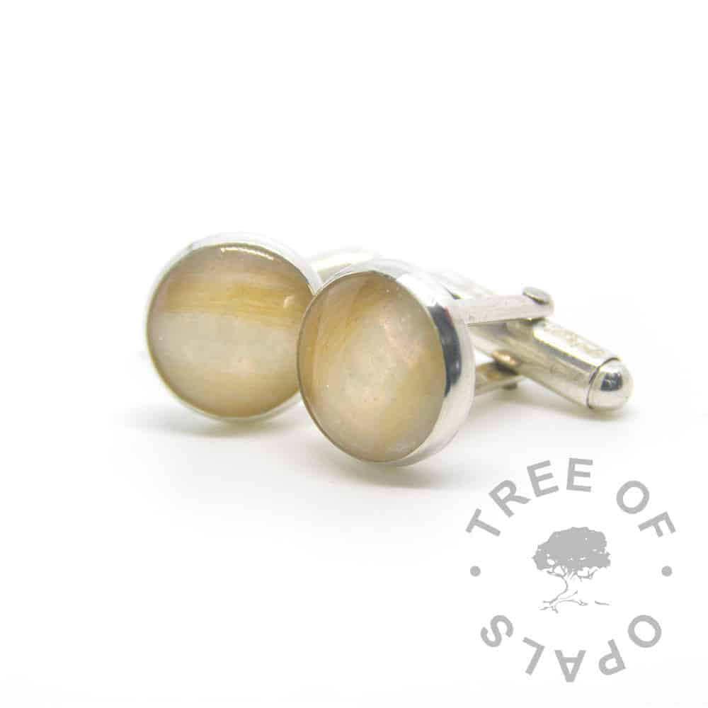 lock of hair cufflinks red pearlescent, solid sterling silver 12mm settings that are handmade by Tree of Opals