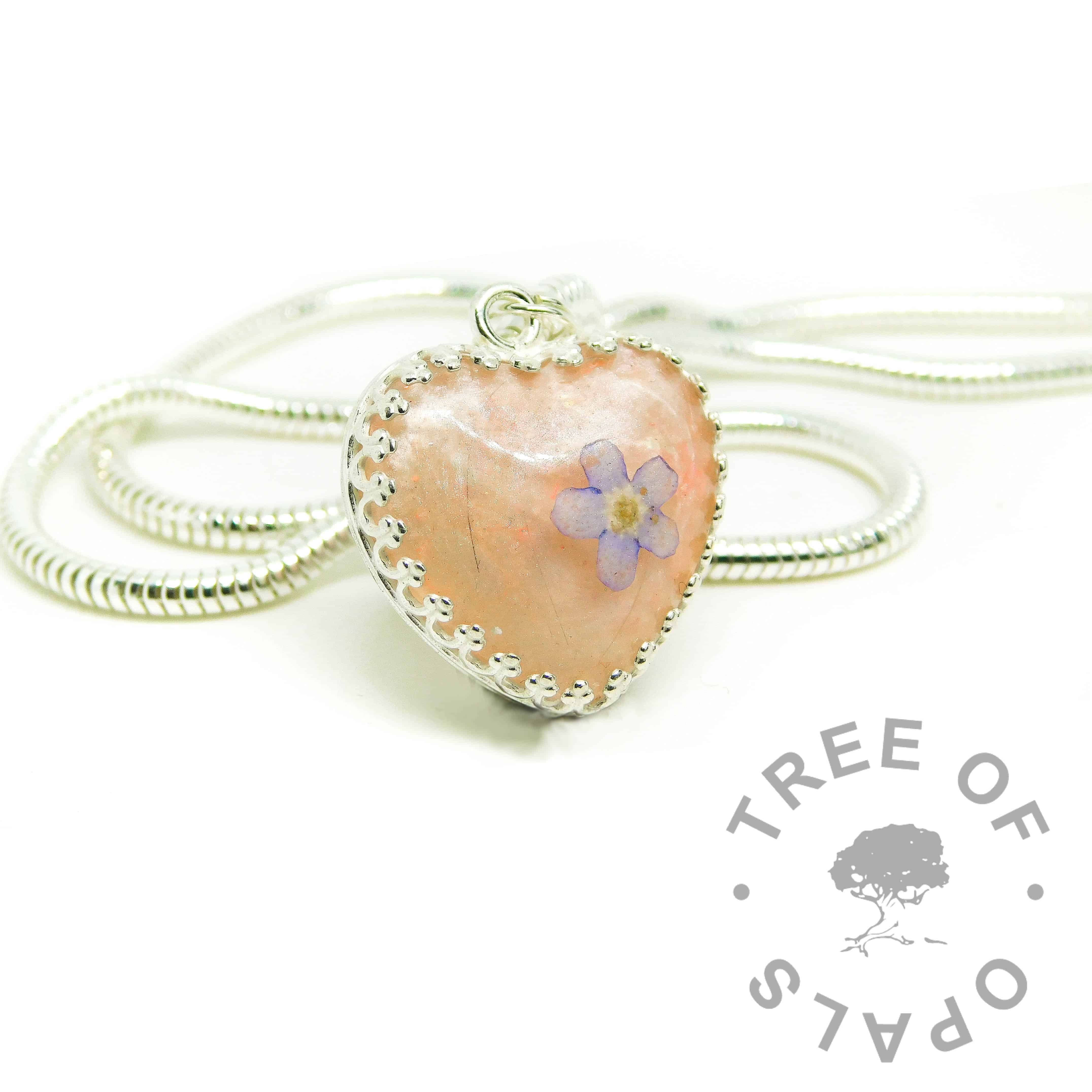pink hair heart, lock of hair heart with Fairy Pink Resin Sparkle Mix, forget me not VIP addition. White/clear see-through hair
